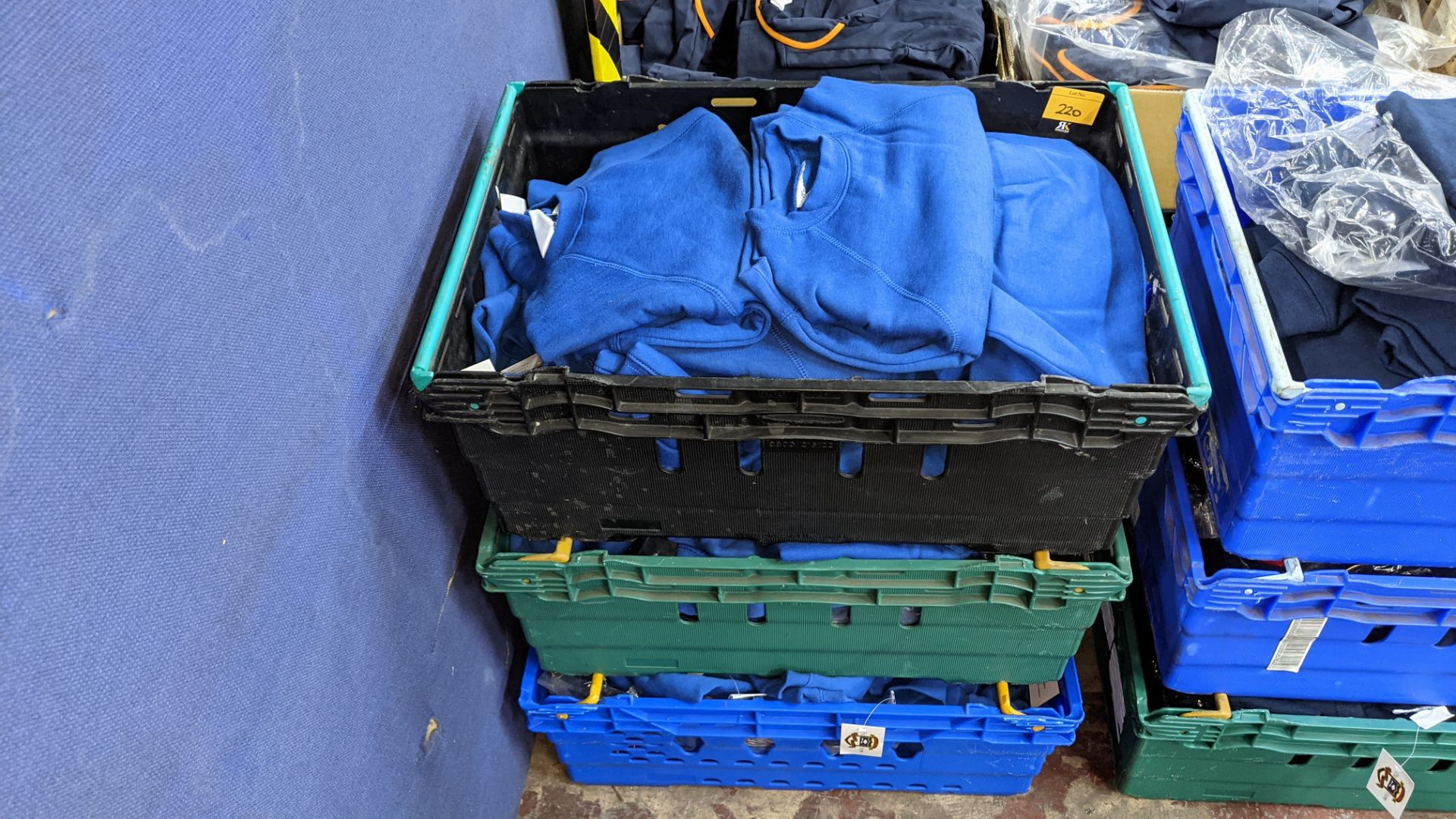 Approx 58 off children's blue sweatshirts - the contents of 3 crates. NB crates excluded - Image 2 of 6
