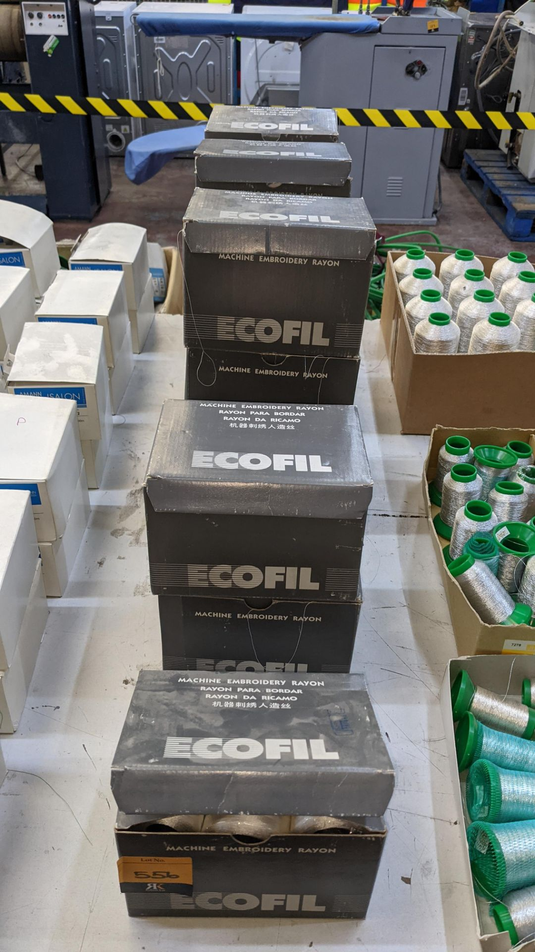 12 boxes of Ecofil rayon machine embroidery thread, all in white