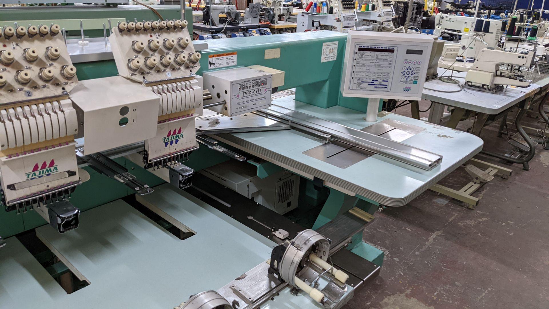 Tokai Tajima model TMFD-C912 electronic 12 head embroidery machine, type 2-2FX - Image 8 of 27