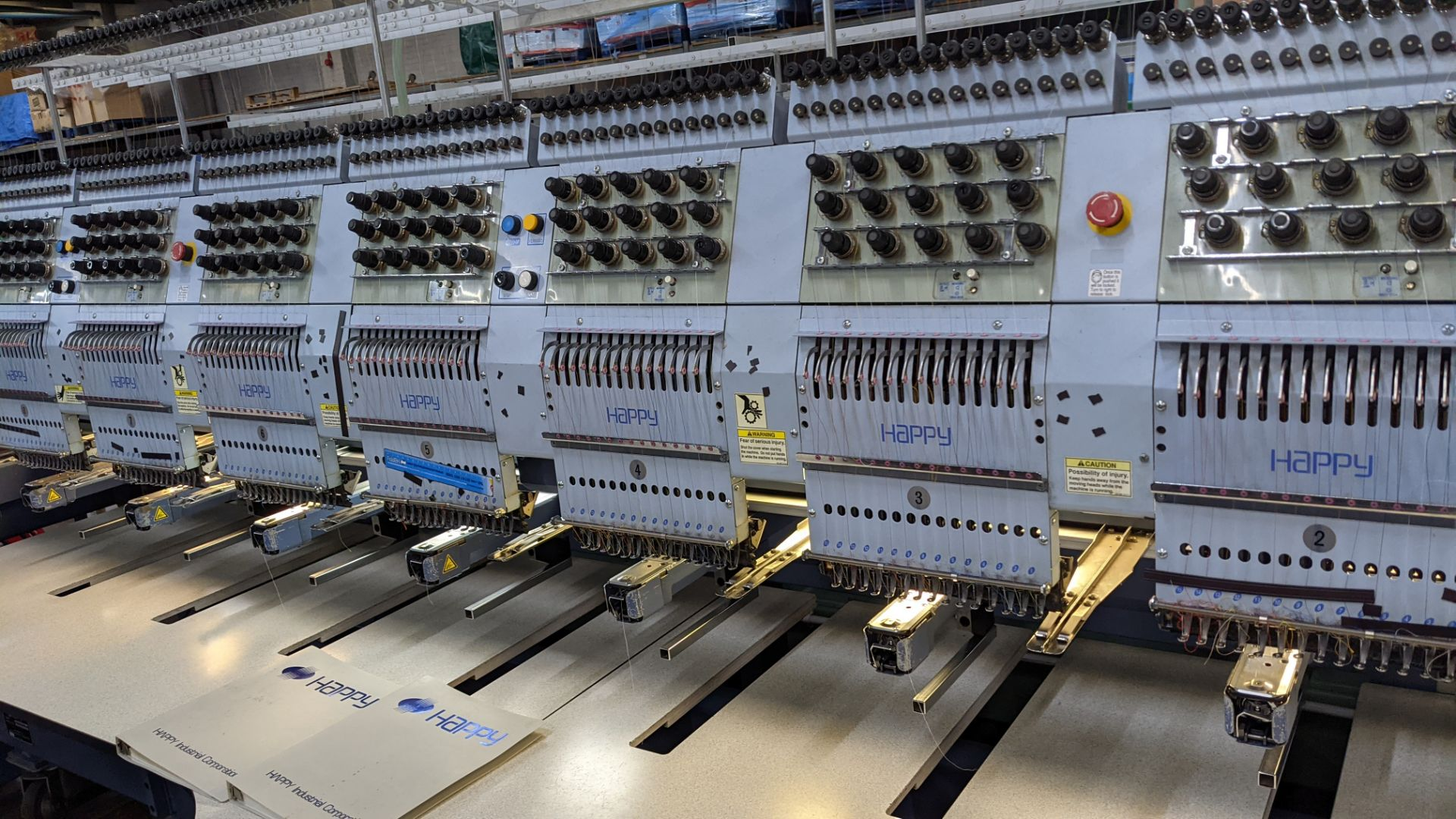 Happy 8 head embroidery machine, model HCG-1508-45TTC, 15 needles per head, including frames & other - Image 6 of 27