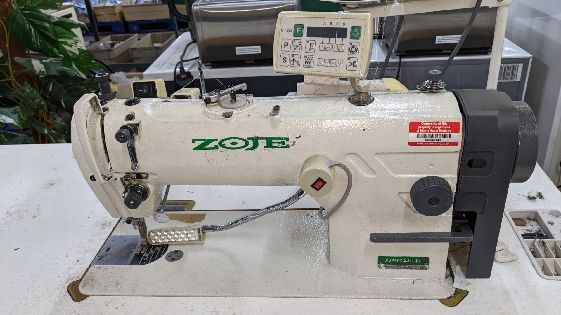 Zoje model ZJ8800A-D3/PF sewing machine with model C-200 digital controller - Image 6 of 15