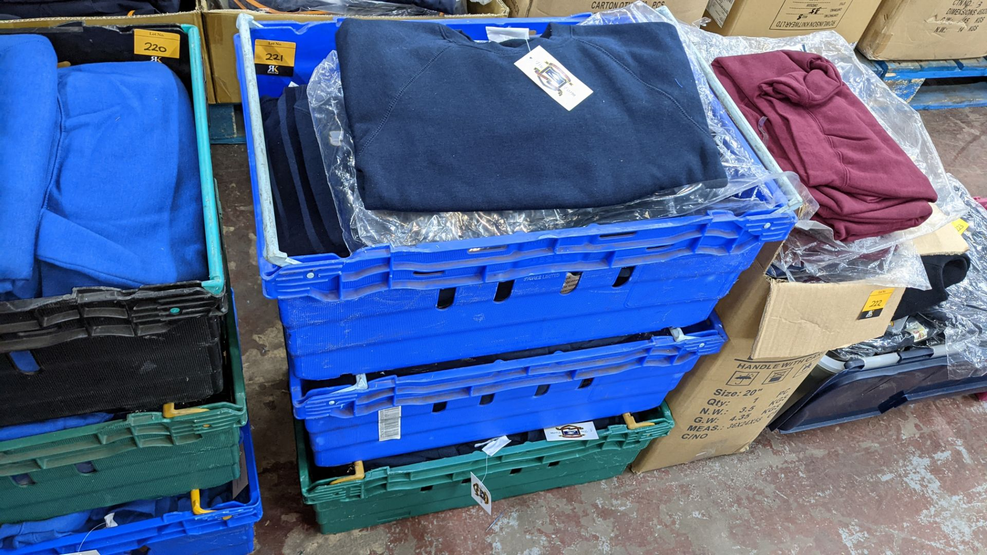 Approx 48 off children's blue sweatshirts - the contents of 3 crates. NB crates excluded - Image 2 of 4