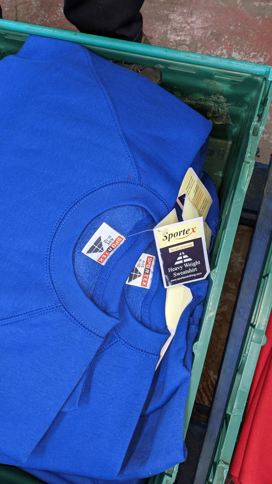 Approx 15 off Sportex children's assorted sweatshirts - the contents of 2 crates. NB crates exclude - Image 5 of 6