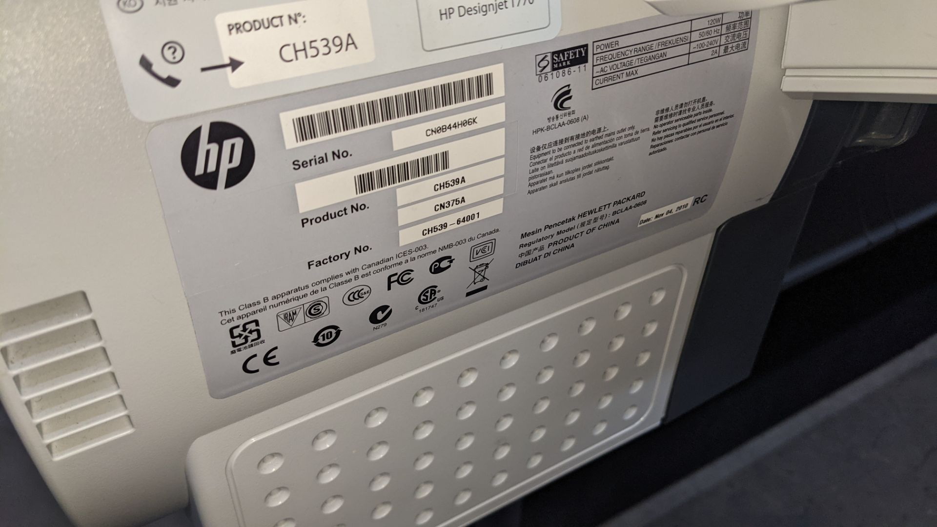 "HP DesignJet T770 wide format printer, product number CH539A/CN375A, factory number CH539-64001 (44"" - Image 7 of 10"