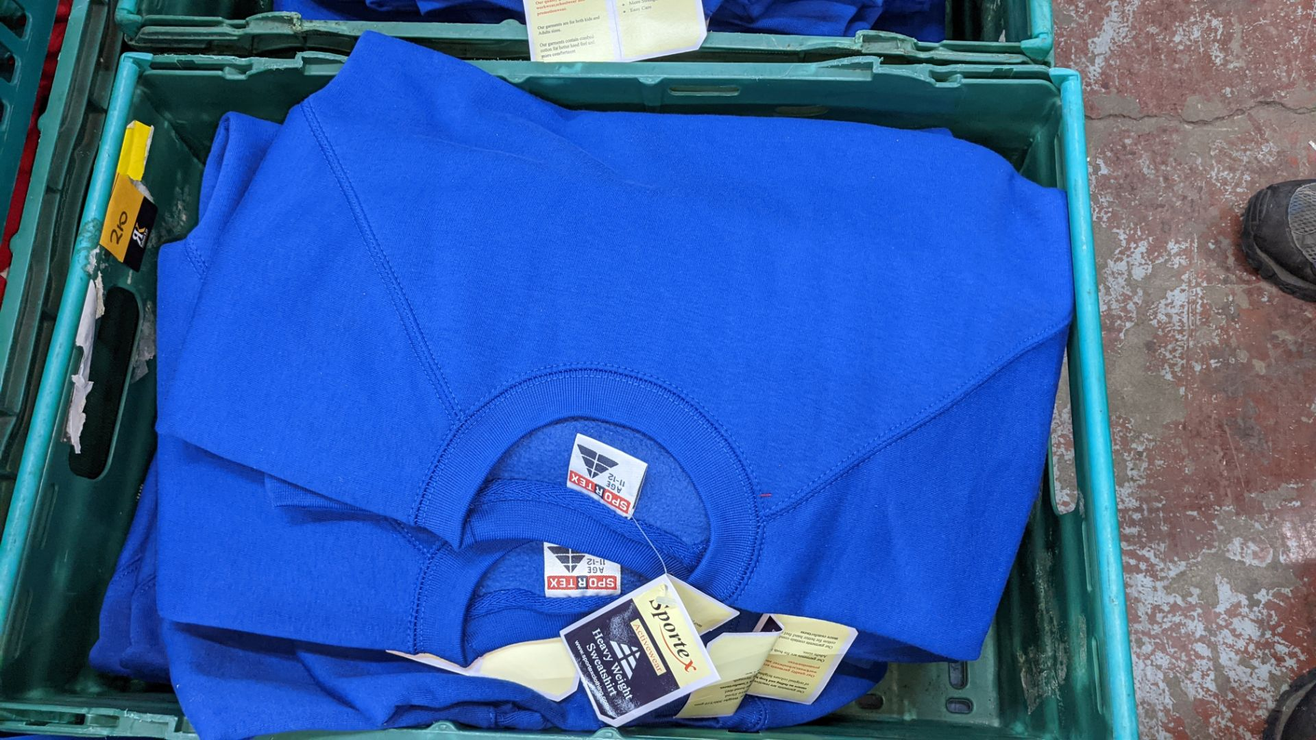 Approx 15 off Sportex children's assorted sweatshirts - the contents of 2 crates. NB crates exclude - Image 3 of 6