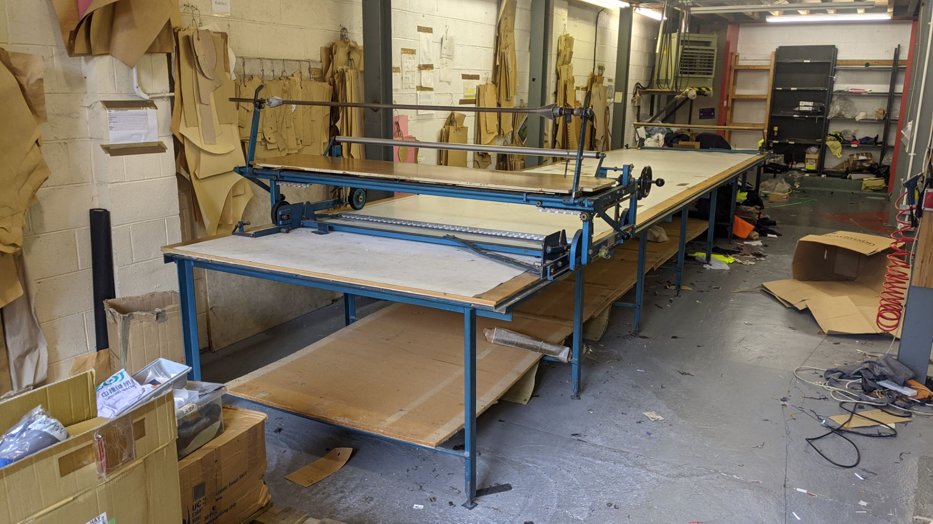 Large cutting table, as shown in 3 stacks. Please note photos taken in situ before the table was de - Image 2 of 16