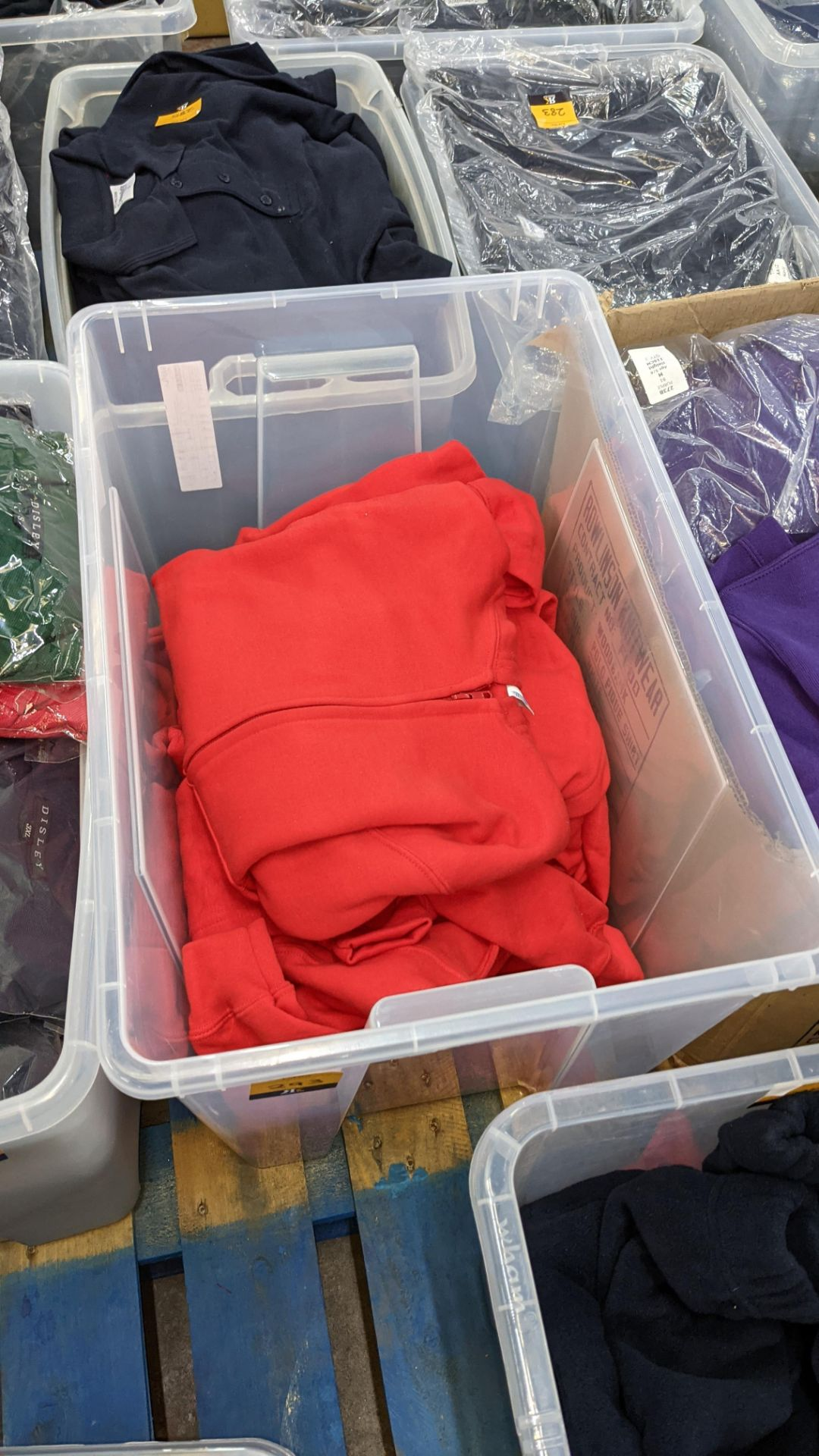 Approx 7 off children's zip up red hooded tops - the contents of 1 large crate. NB crate excluded - Image 2 of 4