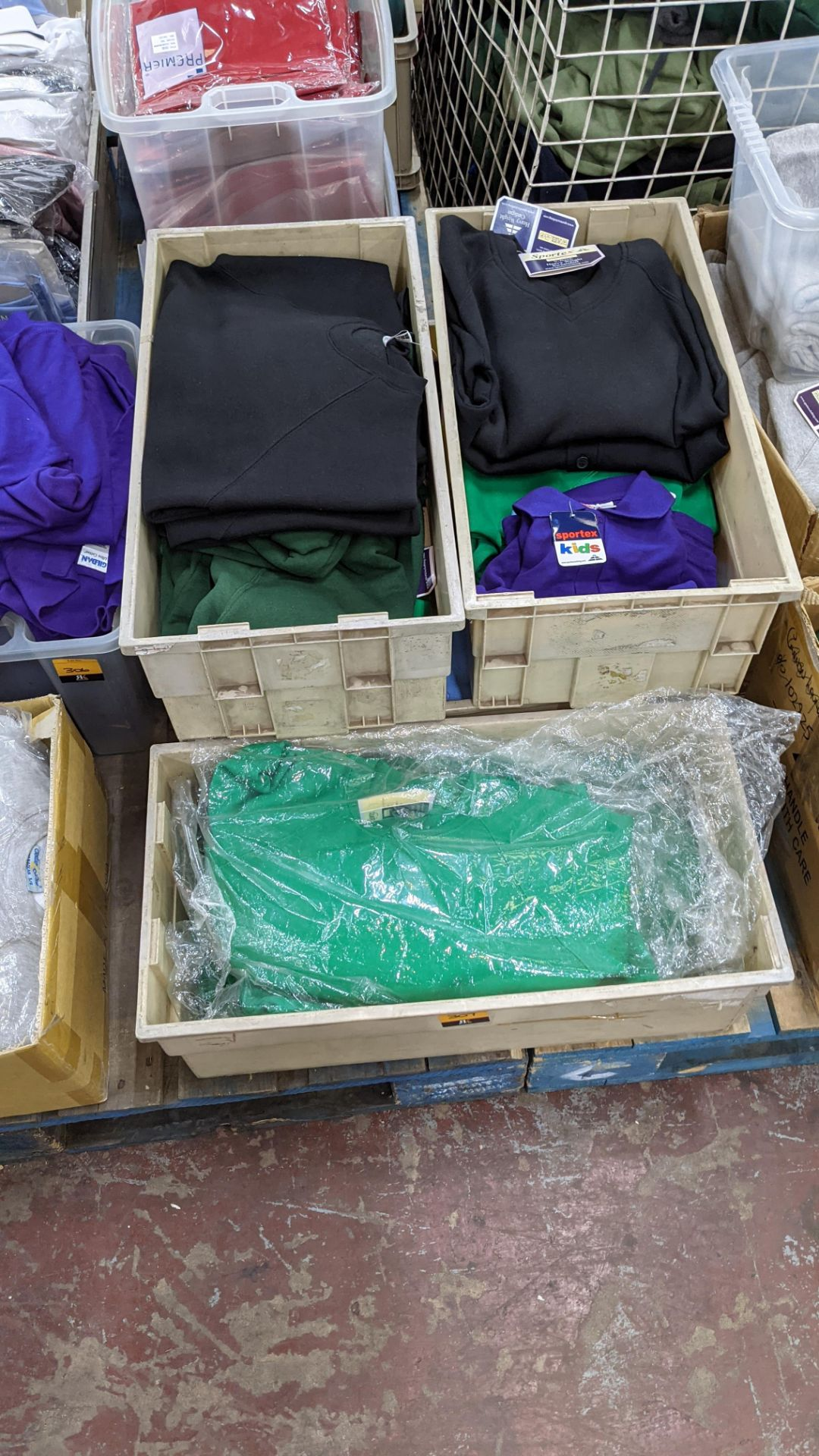 The contents of 5 crates of assorted children's sweatshirts, polo shirts & other school clothing. - Image 3 of 8