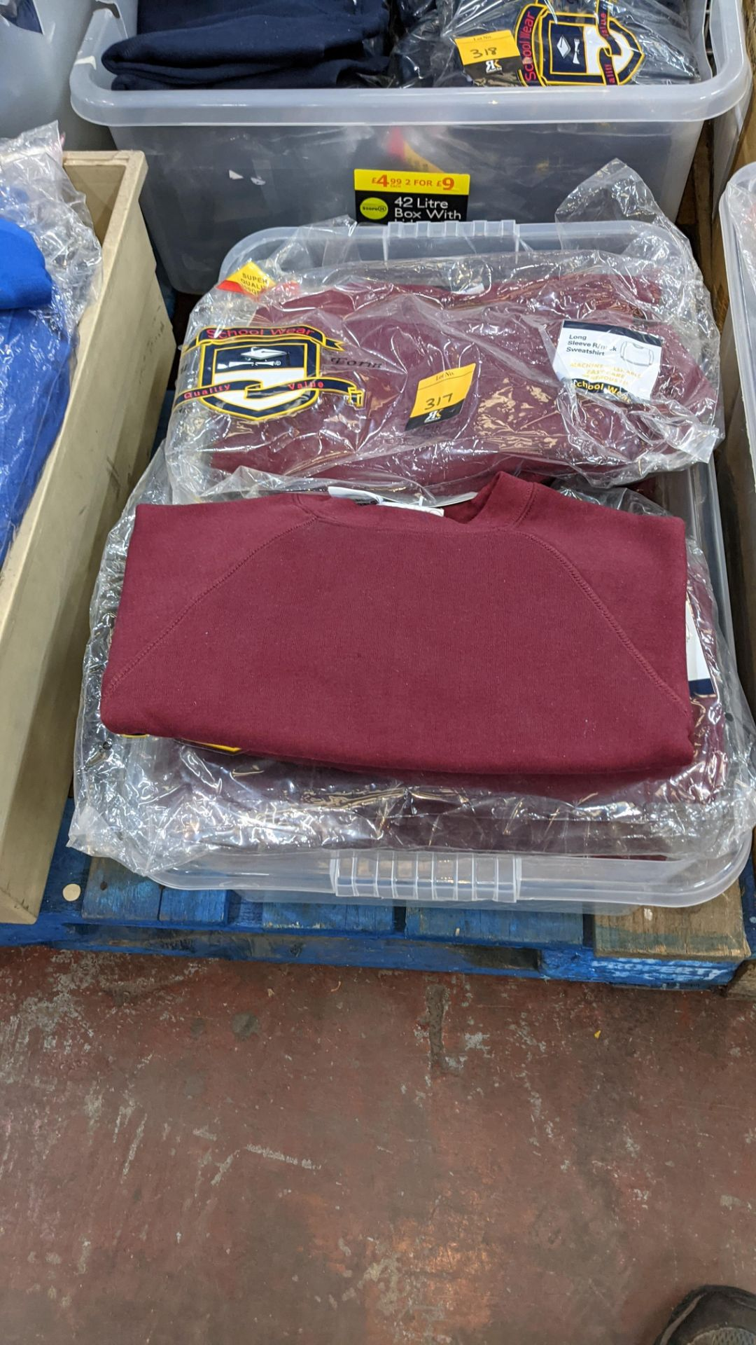 Approx 20 off burgundy children's sweatshirts & similar - the contents of 1 crate. NB crate exclude