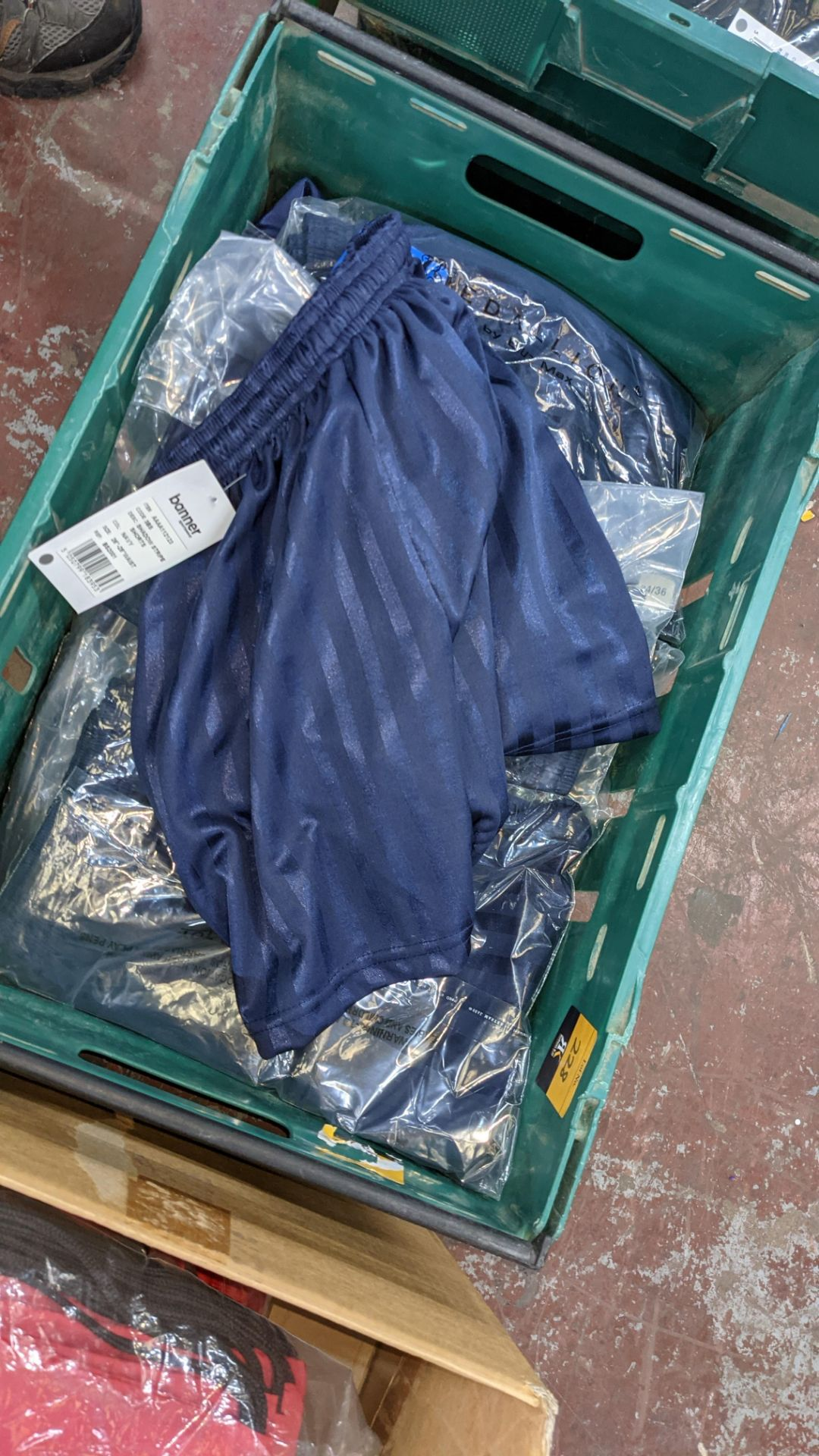 Approx 20 off Banner Sportswear navy children's shorts - the contents of 1 crate. NB crates exclude - Image 4 of 4