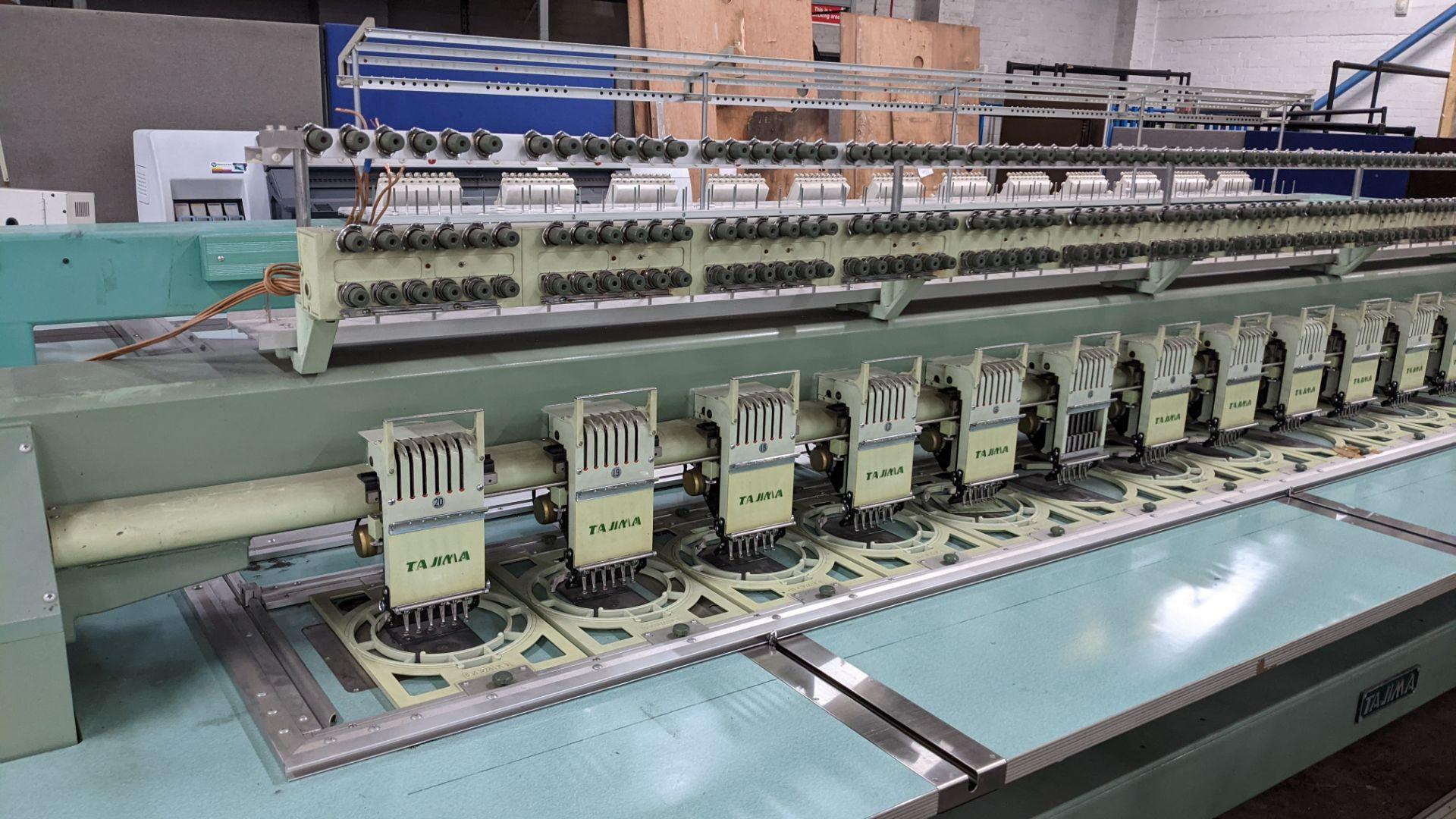 Tokai Tajima electronic 20 head automatic embroidery machine model TMEG-G620, manufacturing number 7 - Image 9 of 19