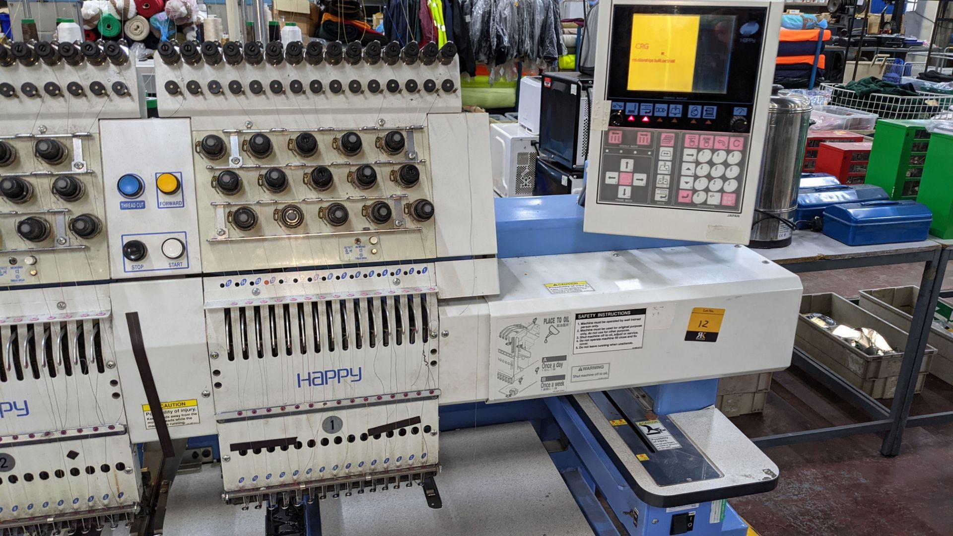Happy 8 head embroidery machine, model HCG-1508B-45TTC, 15 needles per head, including frames & othe - Image 11 of 32