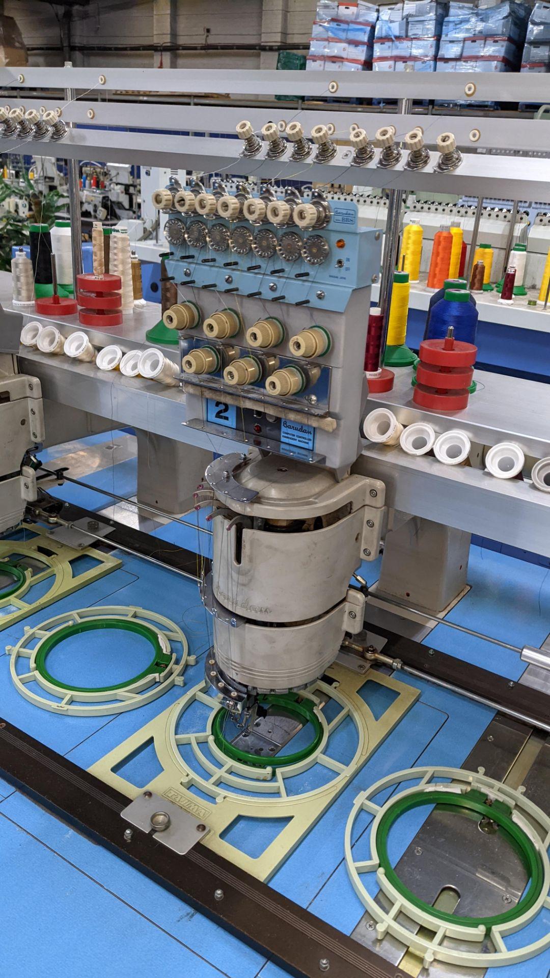 Barudan 4 head embroidery machine, model BEAT 804TYS, 7 needles per head - Image 11 of 24