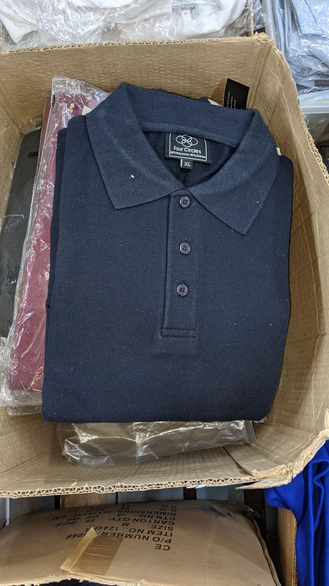 Approx 17 off assorted polo shirts by Four Circles in blue, burgundy & grey - 1 large box - Image 3 of 5