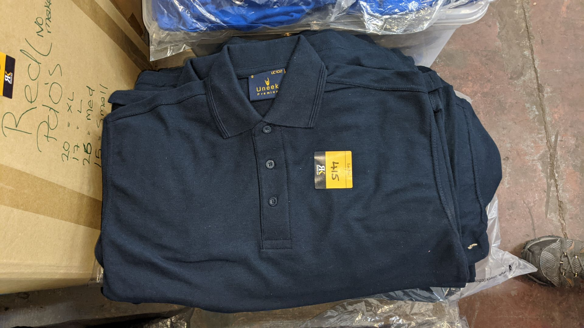 Approx 50 off Uneek dark blue polo shirts - Image 3 of 4