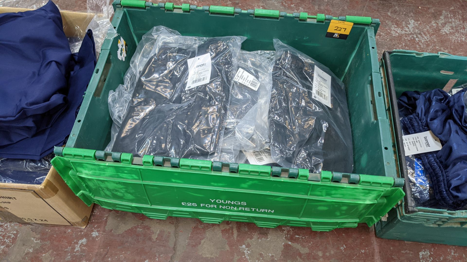 Approx 24 off Banner Sportswear black children's shorts - the contents of 1 crate. NB crate exclude