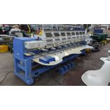 Happy 8 head embroidery machine, model HCG-1508B-45TTC, 15 needles per head, including frames & othe