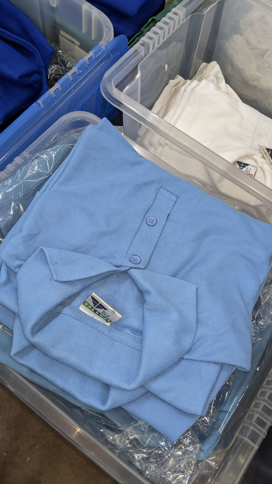 Approx 60 off Sportex children's polo shirts in white & blue - the contents of 3 crates. NB crates - Image 6 of 6
