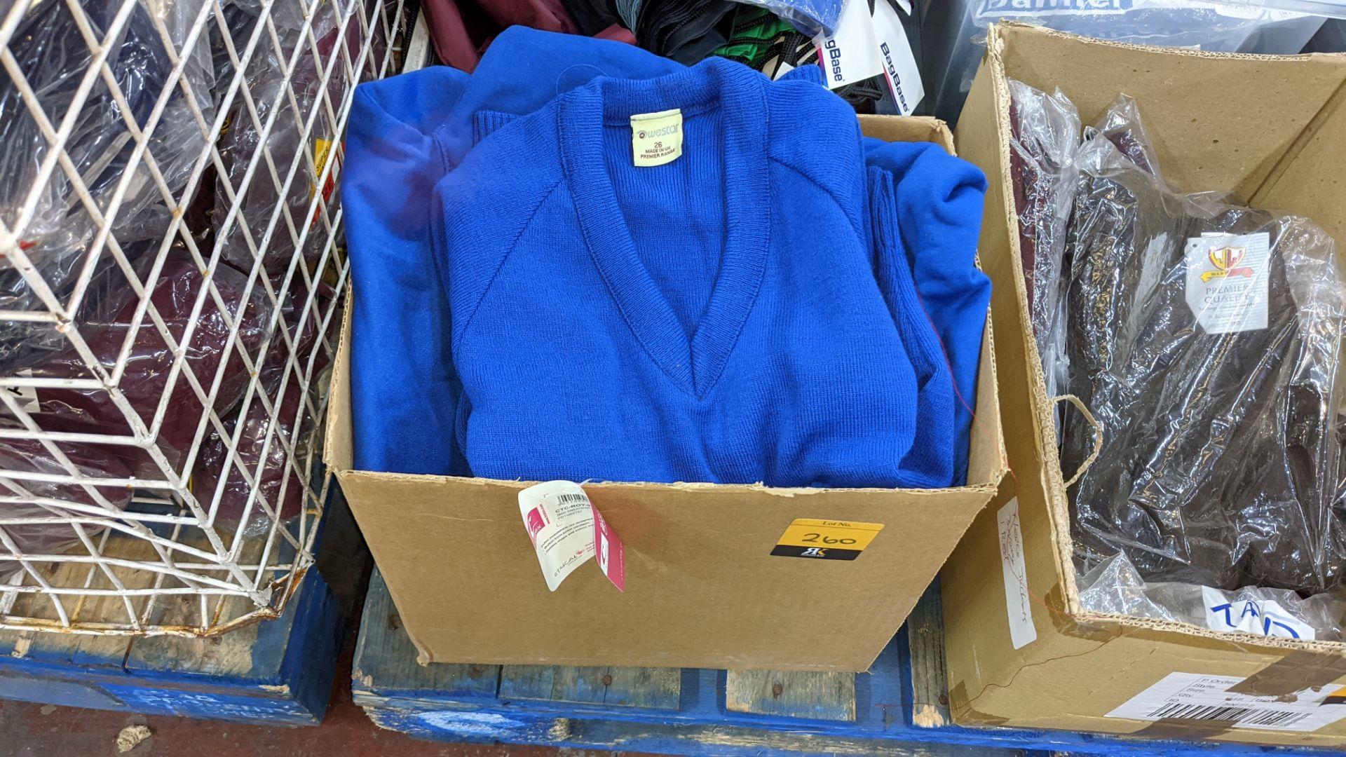 Box of blue V neck children's sweatshirts & button up tops