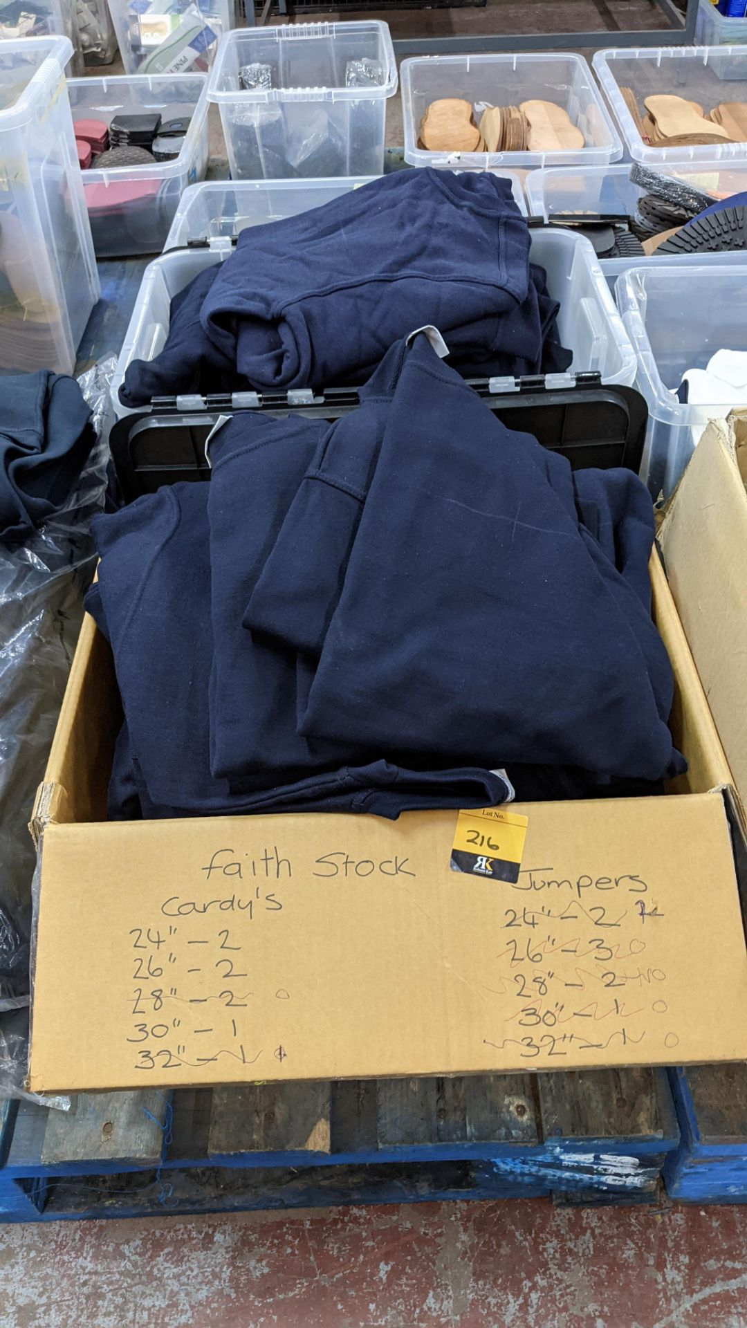 Approx 26 off Absolute Apparel blue sweatshirts - the contents of 2 boxes/crates. NB boxes/crates e - Image 2 of 5