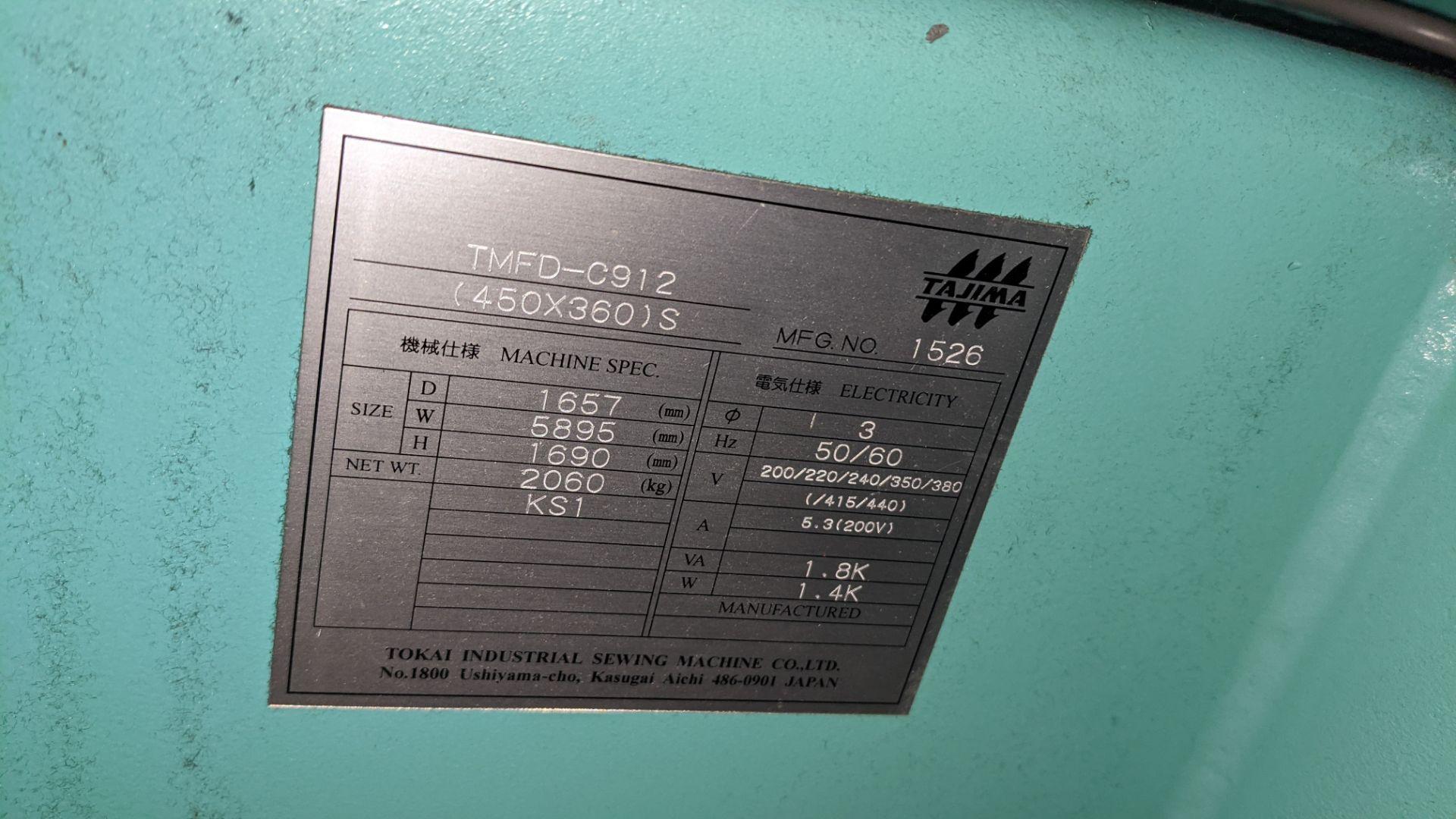 Tokai Tajima model TMFD-C912 electronic 12 head embroidery machine, type 2-2FX - Image 13 of 27