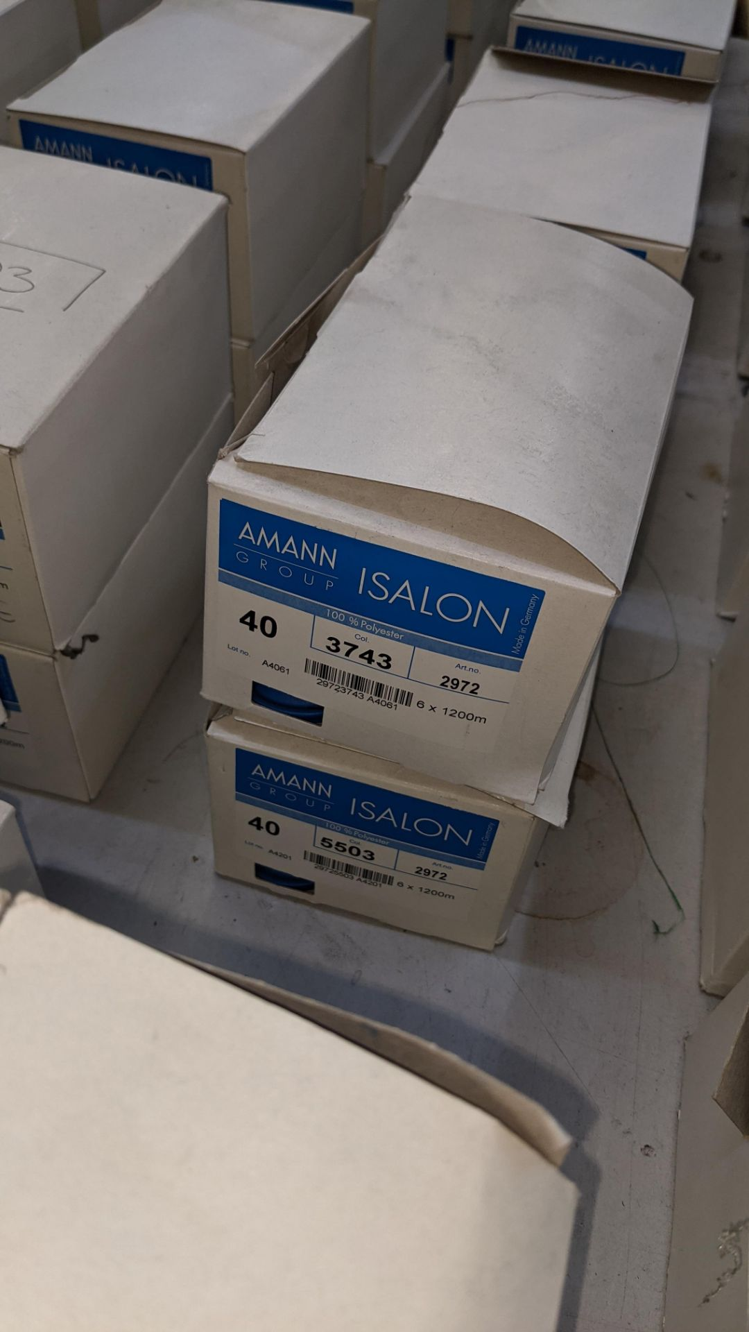 12 boxes of Amann Group ISALON 40 polyester embroidery thread - Image 4 of 11