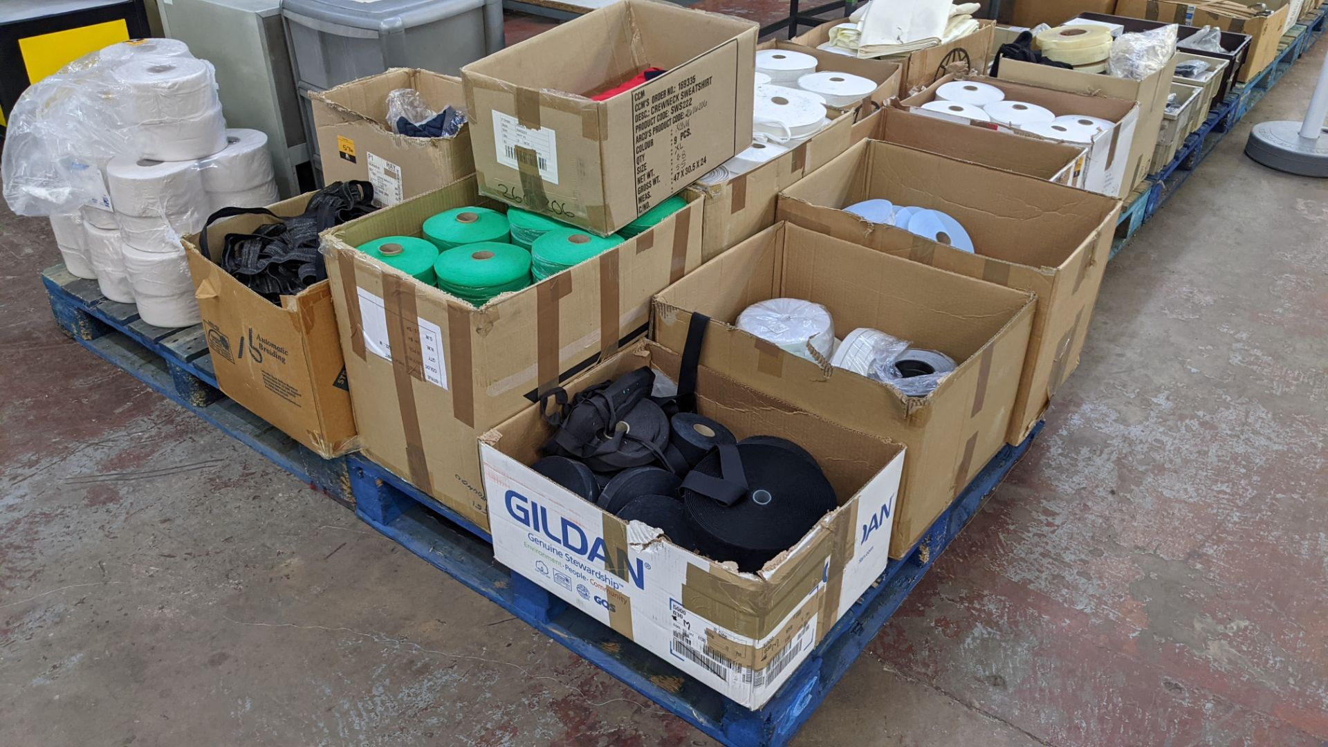9 assorted boxes of tape, zips & other materials