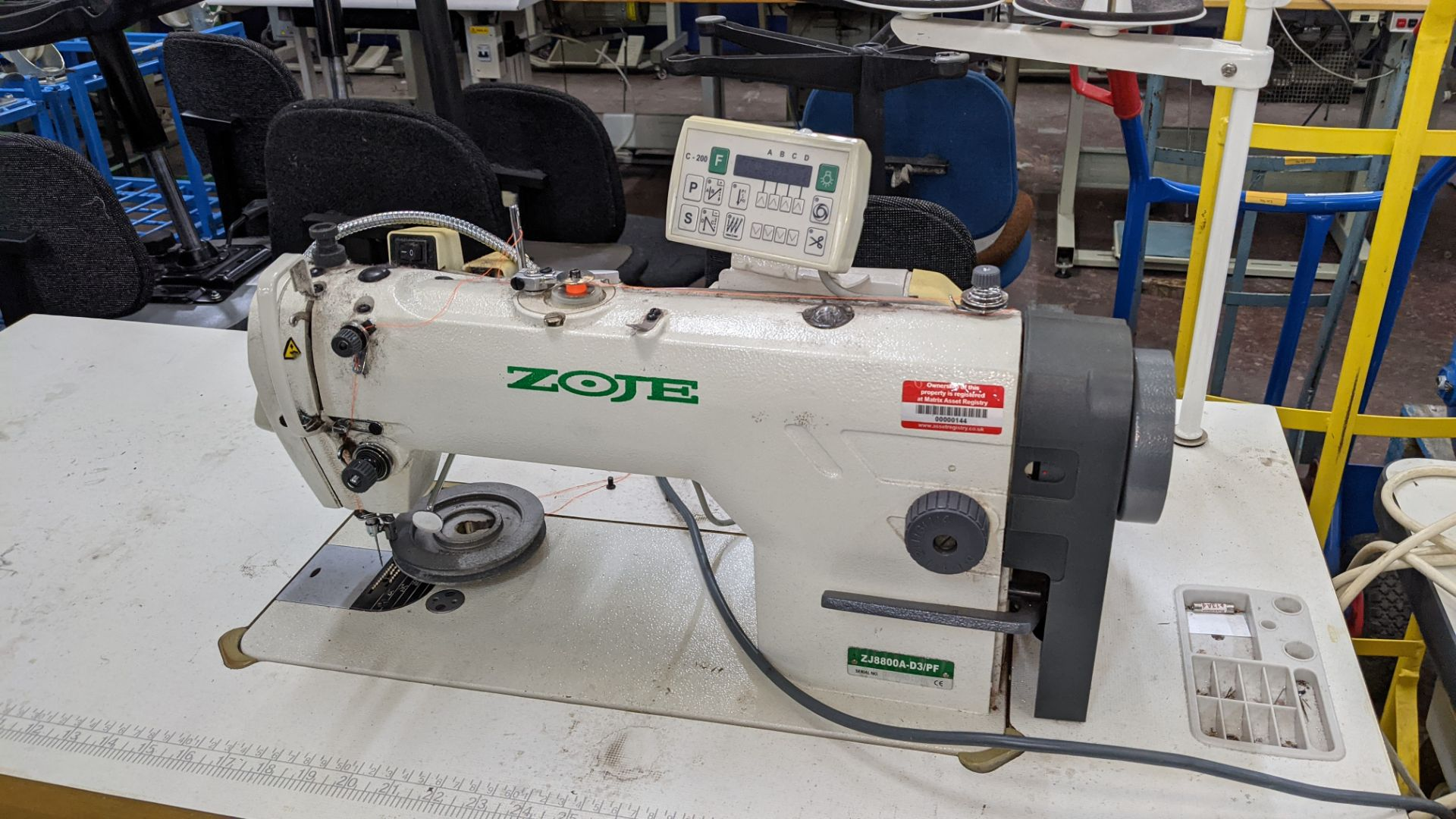 Zoje model ZJ8800A-D3B/PF sewing machine with C-200 controller - Image 5 of 16