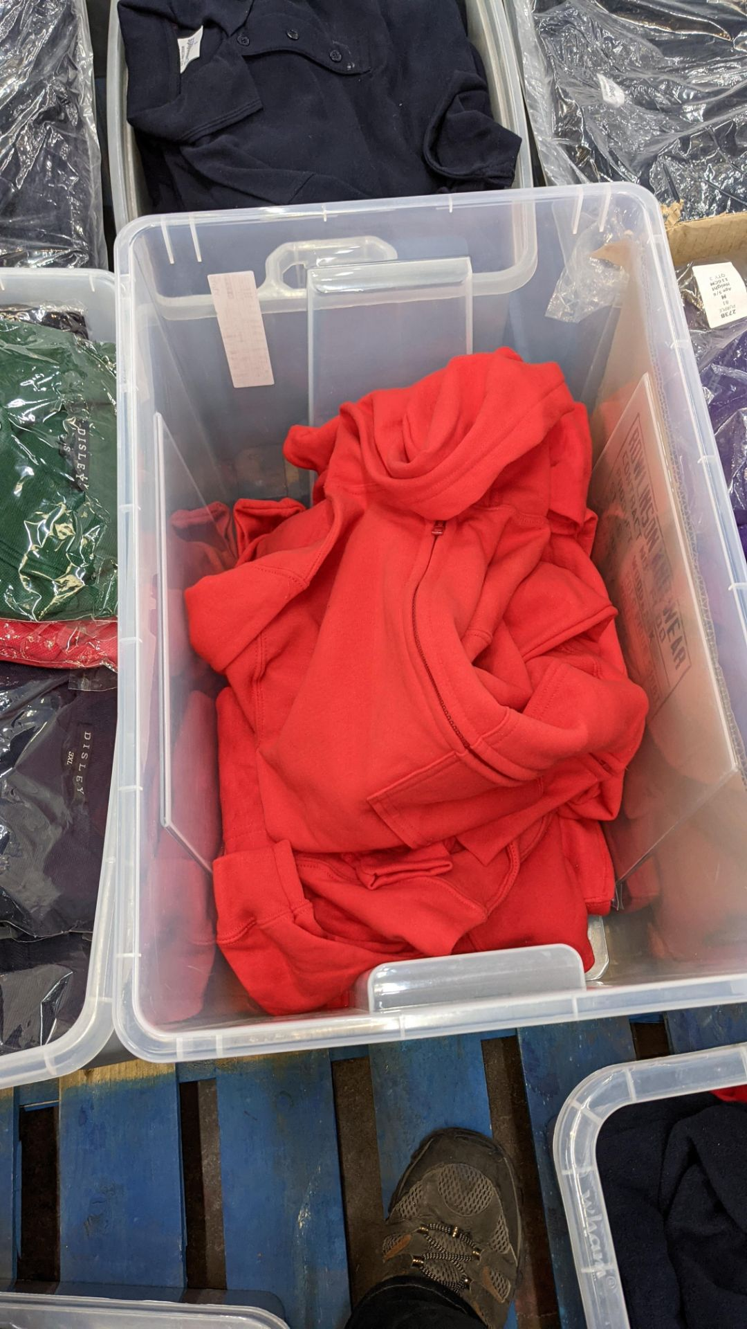 Approx 7 off children's zip up red hooded tops - the contents of 1 large crate. NB crate excluded - Image 4 of 4