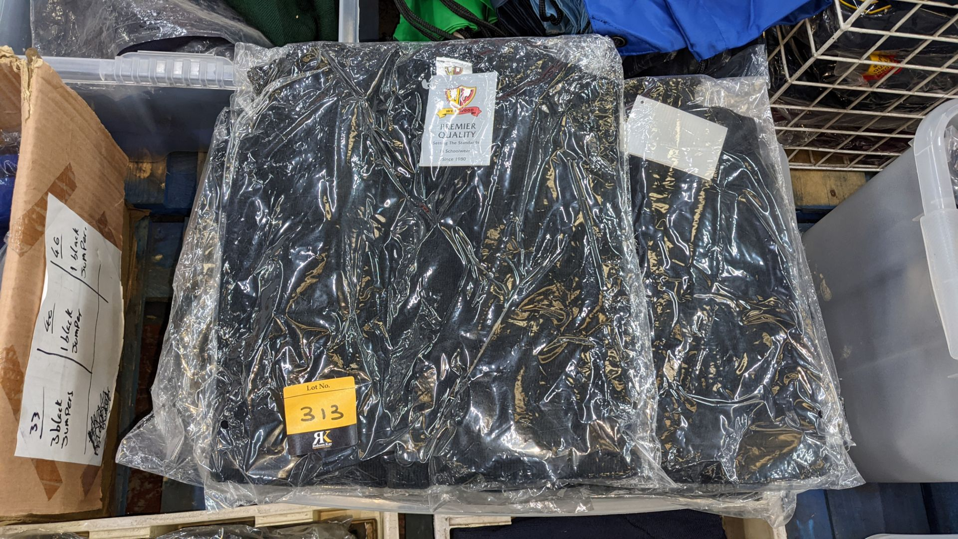Approx 14 off black children's V neck jumpers & button up tops - the contents of 1 crate. NB crate - Image 3 of 5