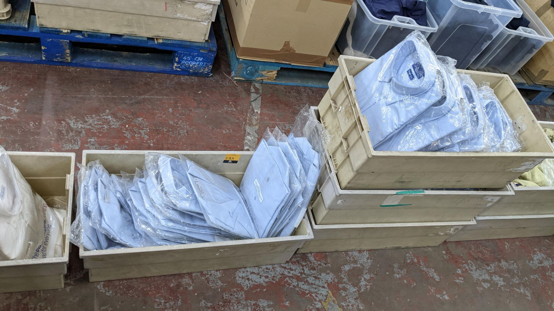 Approx 70 off assorted pale blue & white shirts & other button up tops in assorted styles - the cont