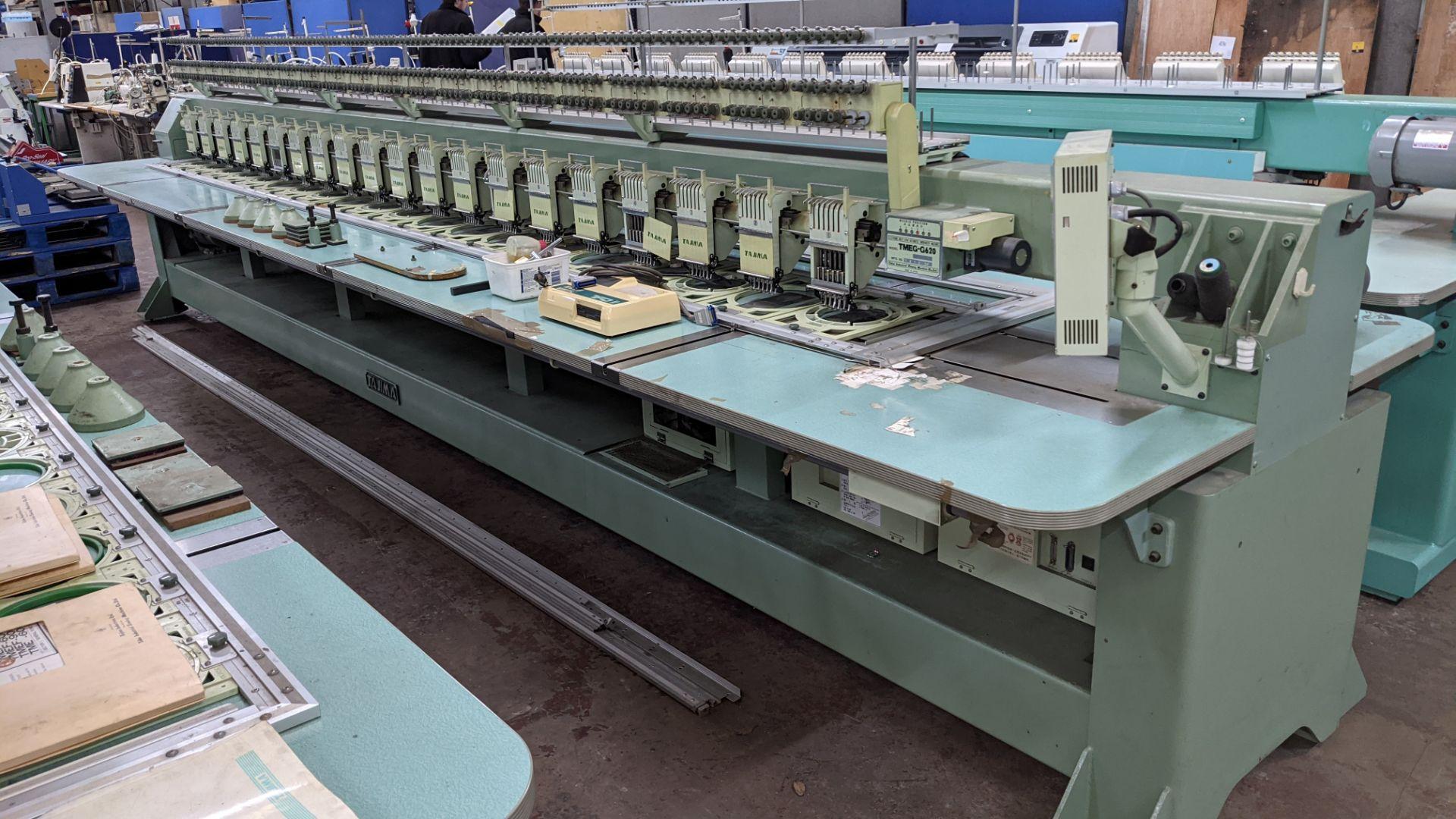 Tokai Tajima electronic 20 head automatic embroidery machine model TMEG-G620, manufacturing number 7 - Image 2 of 19
