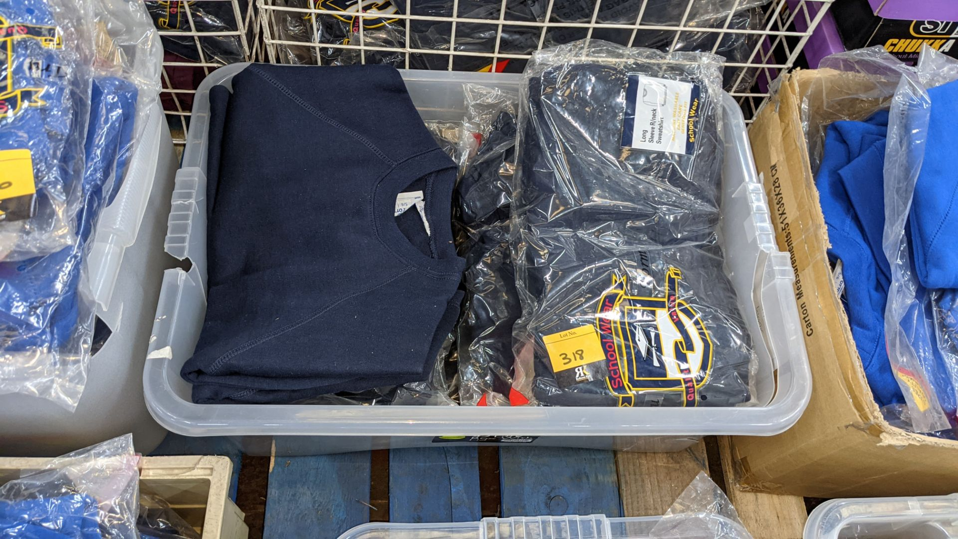 Approx 19 off blue children's sweatshirts & similar - the contents of 1 crate. NB crate excluded - Image 2 of 4