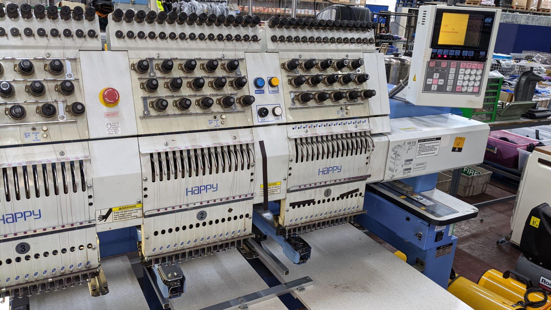 Happy 8 head embroidery machine, model HCG-1508B-45TTC, 15 needles per head, including frames & othe - Image 10 of 32