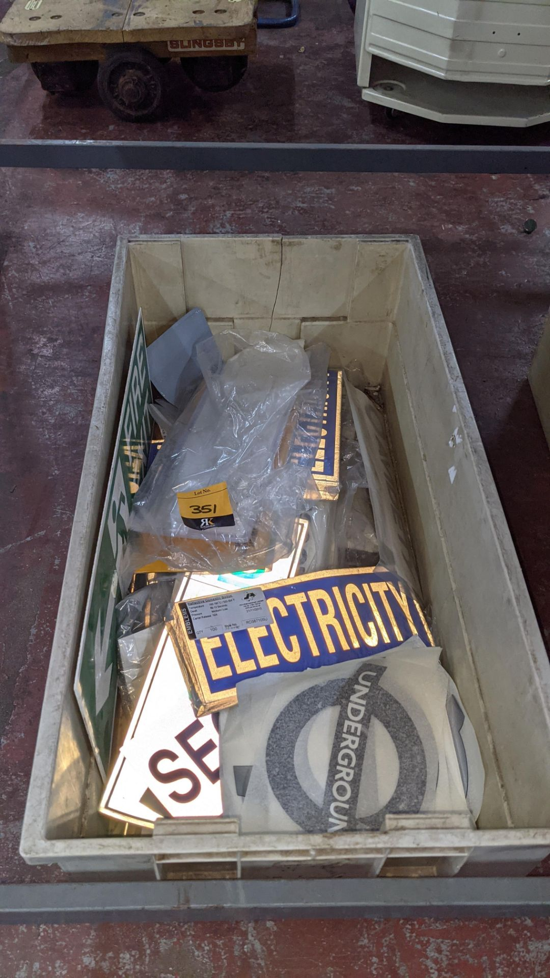 The contents of a crate of assorted patches, signage & transfers. NB crate excluded