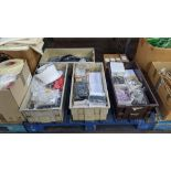 The contents of 5 boxes & crates of assorted buttons, zips & other materials