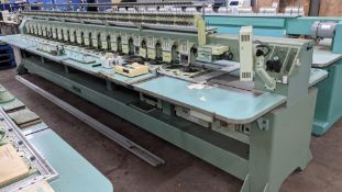 Tokai Tajima electronic 20 head automatic embroidery machine model TMEG-G620, manufacturing number 7