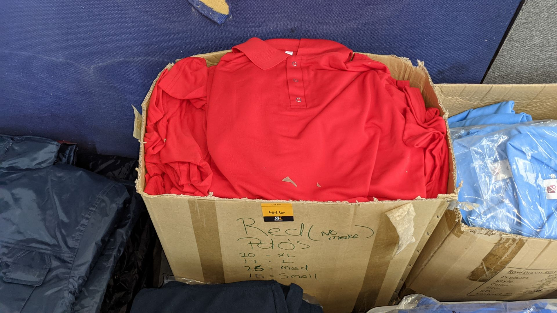 Quantity of red polo shirts