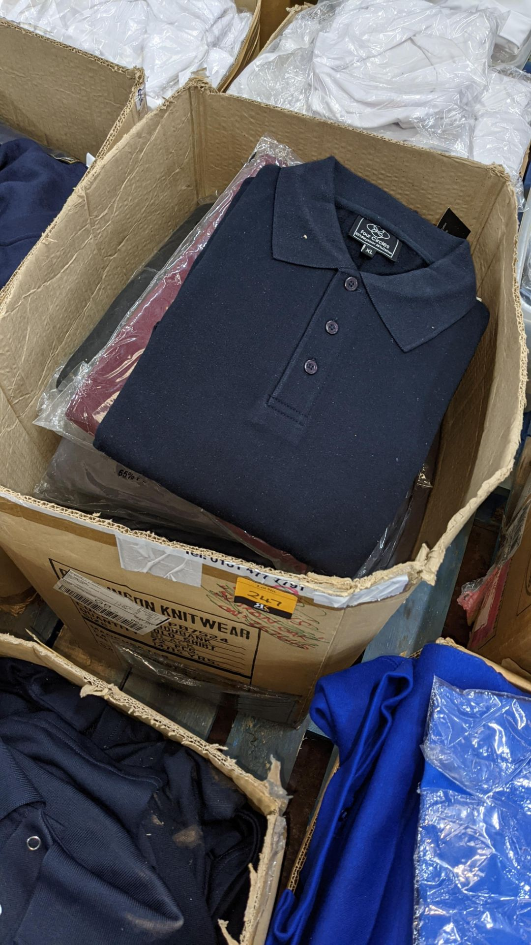 Approx 17 off assorted polo shirts by Four Circles in blue, burgundy & grey - 1 large box - Image 2 of 5