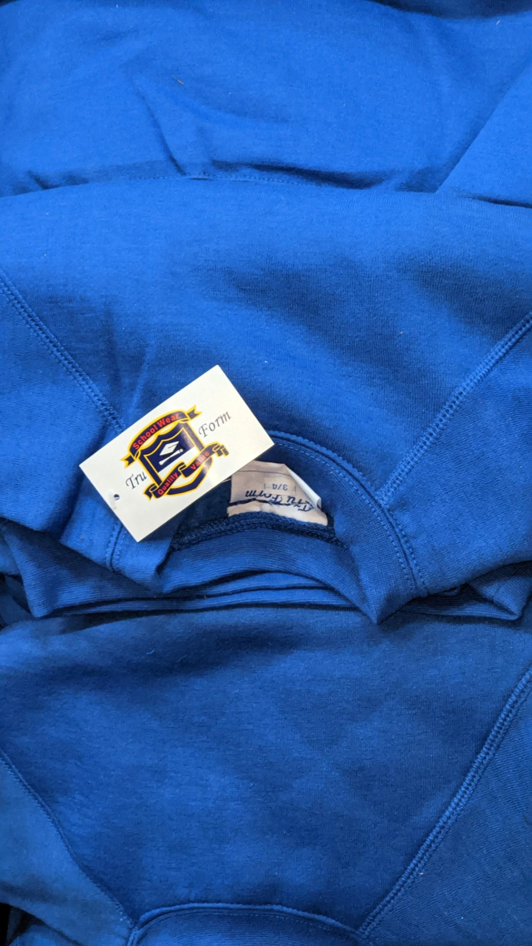Approx 58 off children's blue sweatshirts - the contents of 3 crates. NB crates excluded - Image 5 of 6