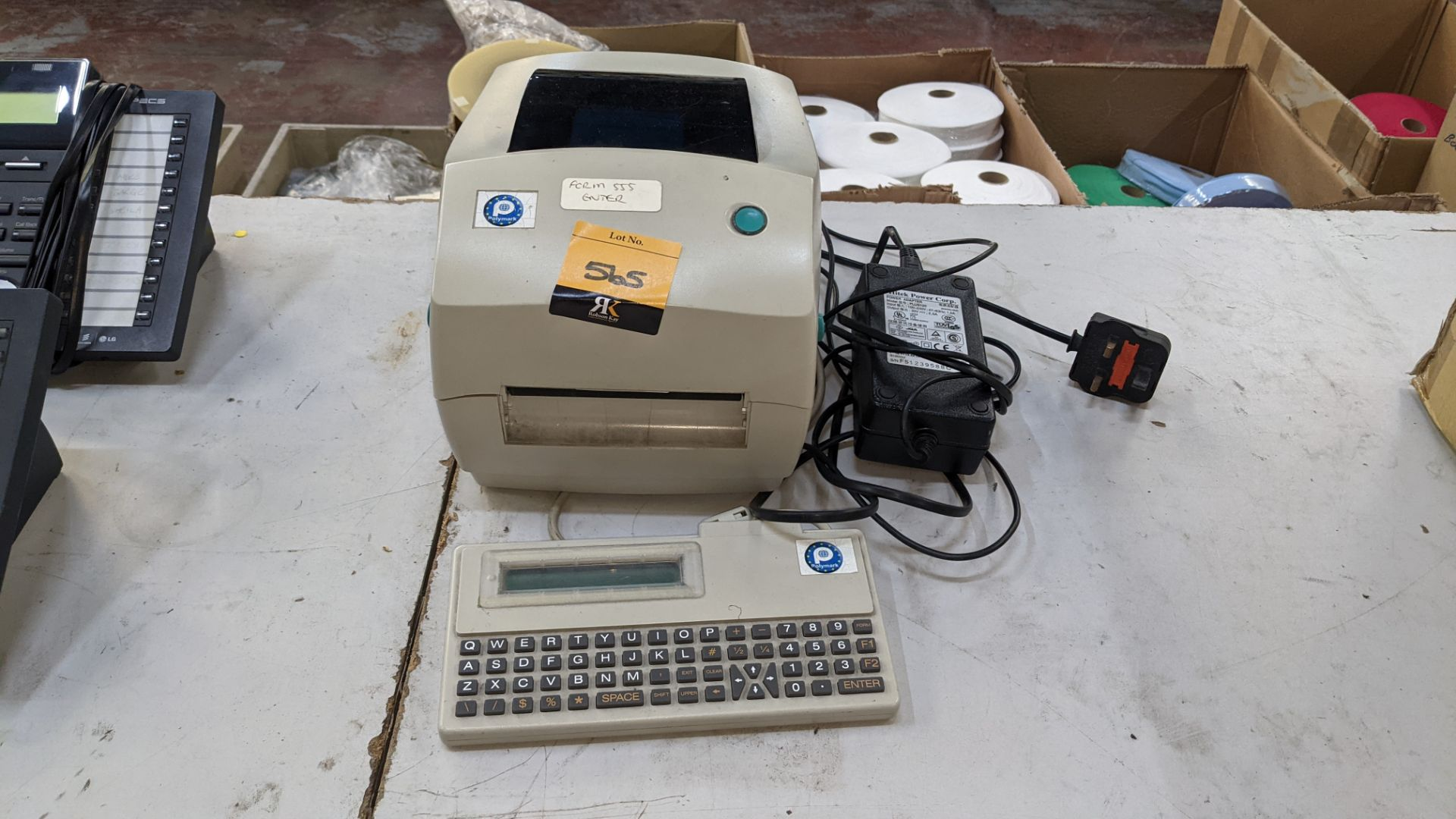 Label printer, model TLP2844 with keyboard & power pack - Image 3 of 6
