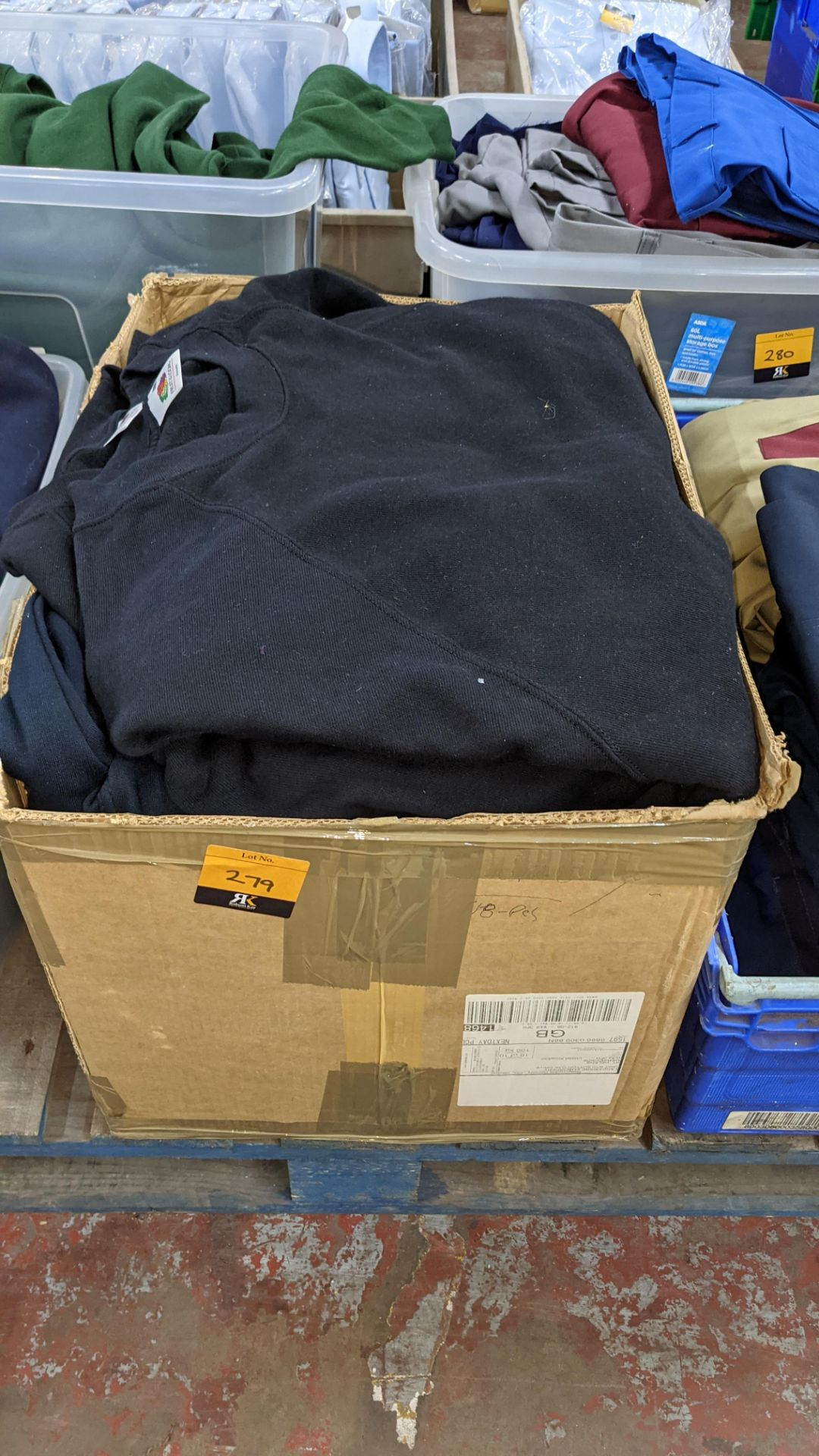 Quantity of black sweatshirts - 1 large box