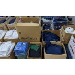 Quantity of assorted pieces of fabric in blue, green & black - this lot consists of 4 assorted size