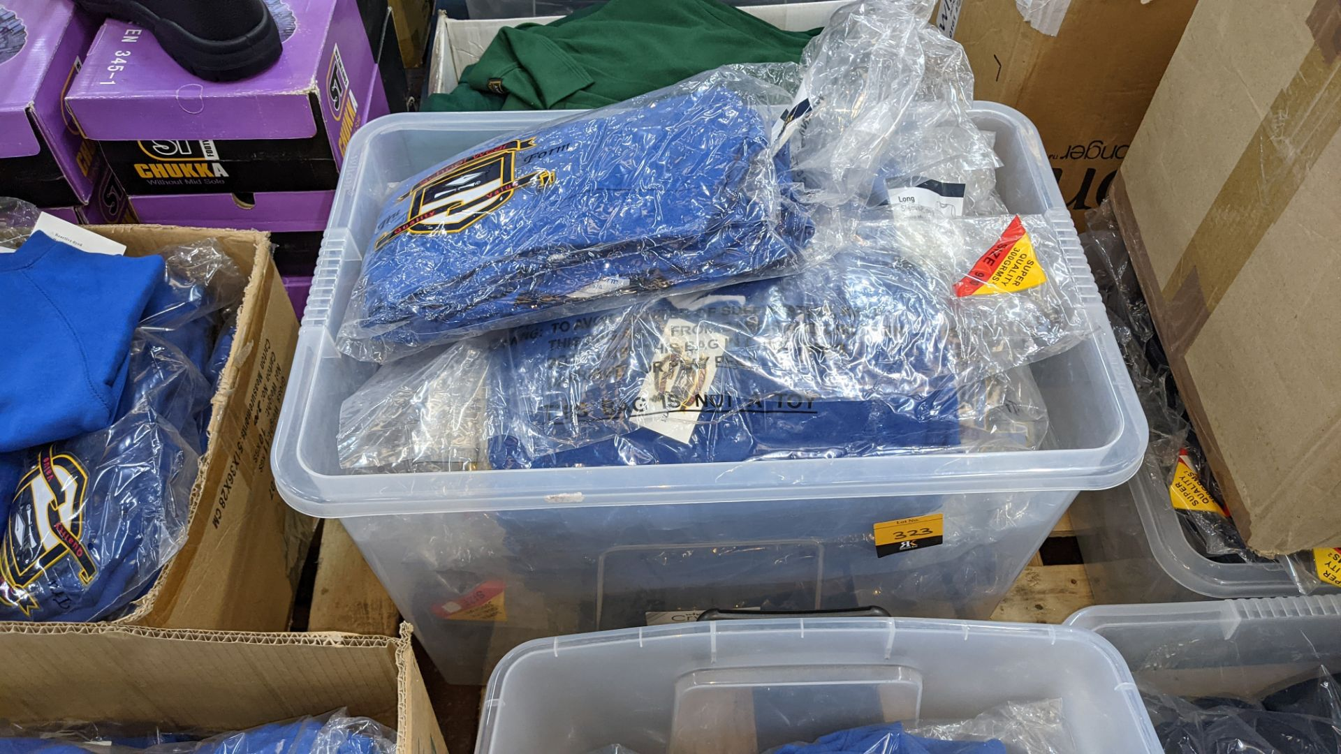 Approx 39 off blue children's sweatshirts & similar - the contents of 1 crate. NB crate excluded