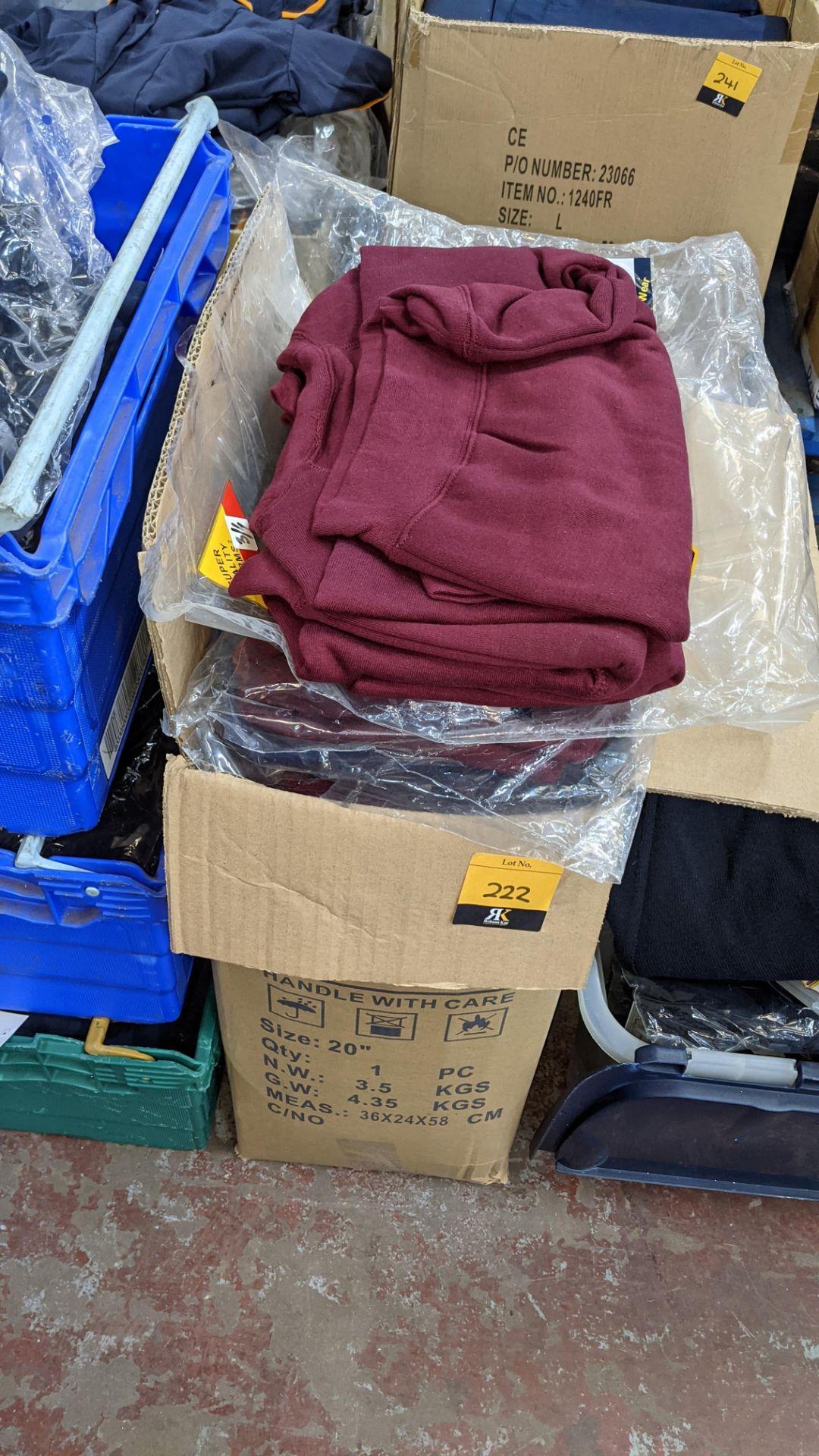 Approx 36 off children's burgundy sweatshirts - 1 large box