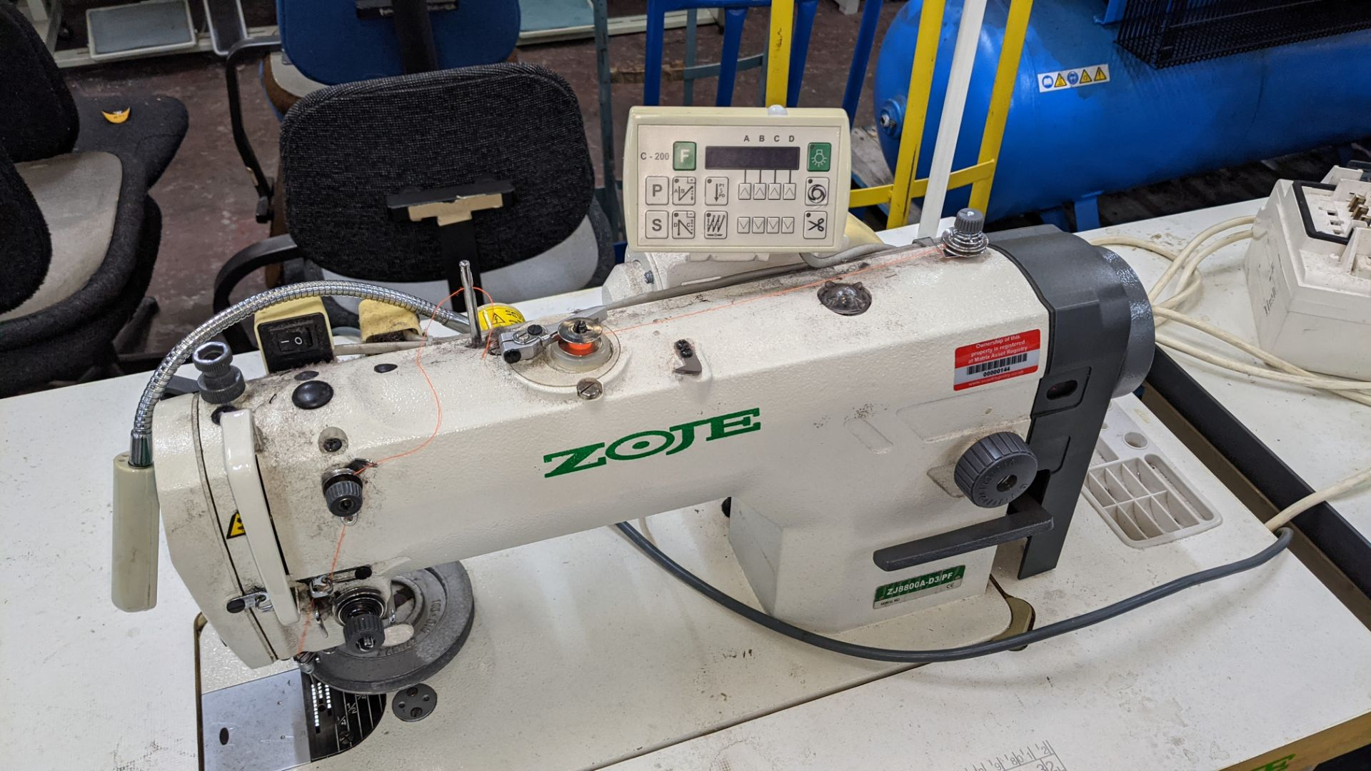 Zoje model ZJ8800A-D3B/PF sewing machine with C-200 controller - Image 8 of 16