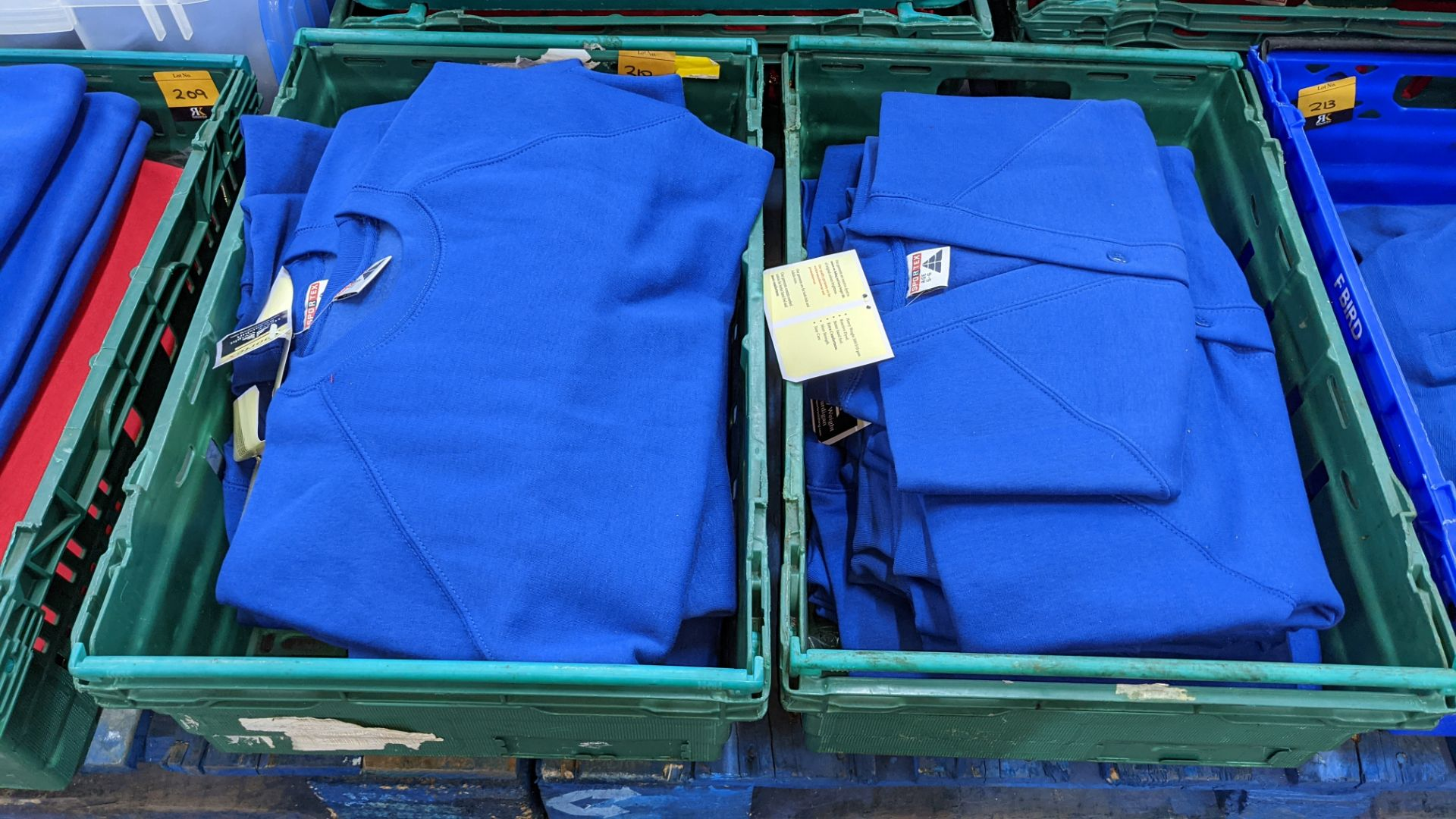 Approx 15 off Sportex children's assorted sweatshirts - the contents of 2 crates. NB crates exclude