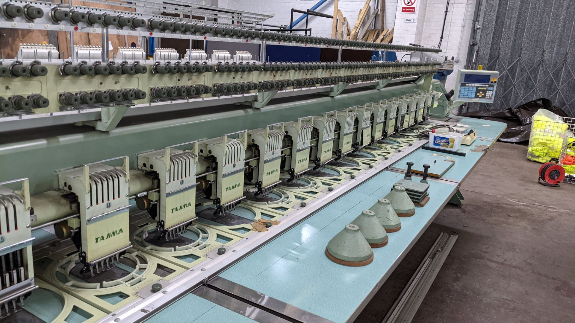 Tokai Tajima electronic 20 head automatic embroidery machine model TMEG-G620, manufacturing number 7 - Image 11 of 19