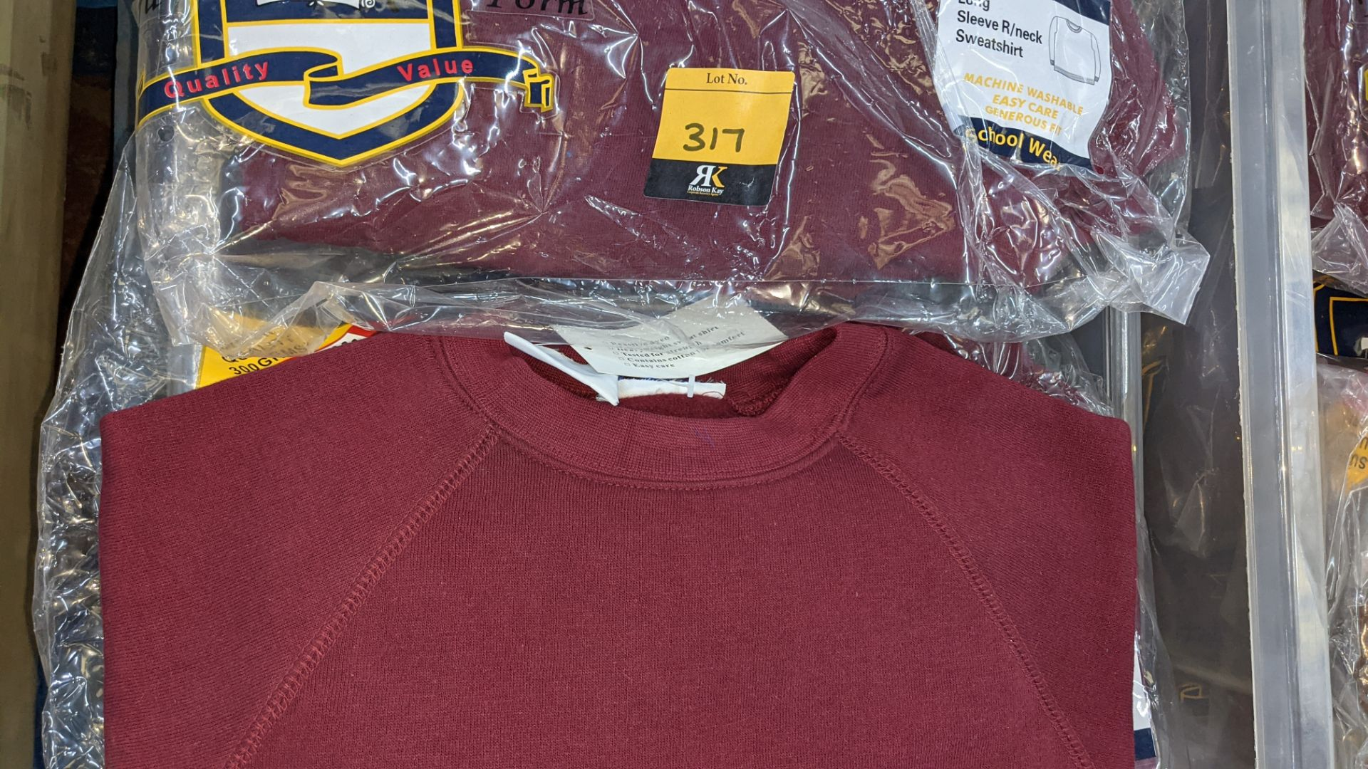 Approx 20 off burgundy children's sweatshirts & similar - the contents of 1 crate. NB crate exclude - Image 5 of 5