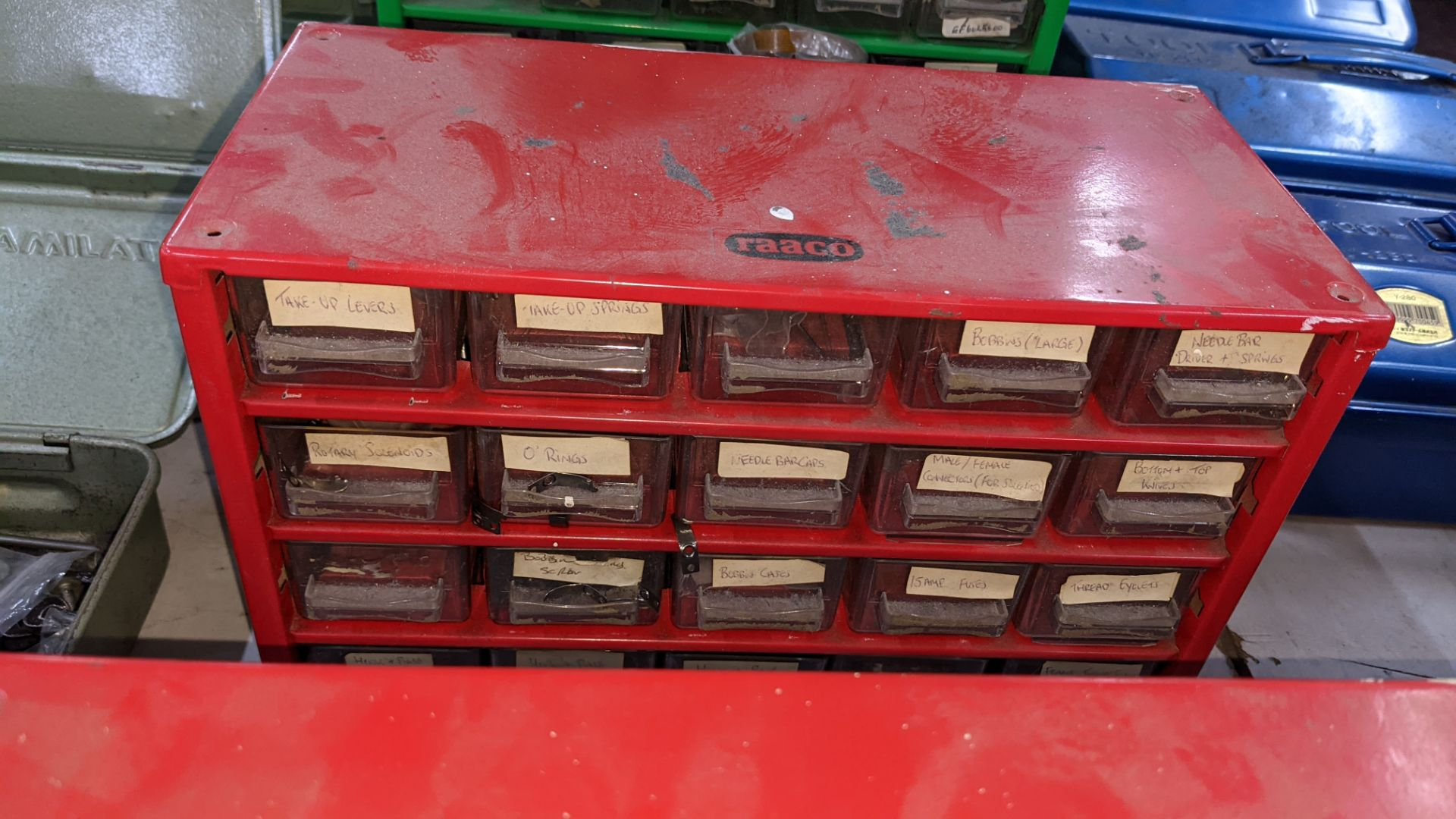 4 off mini cabinets & their contents of machinery parts & spares - Image 4 of 12